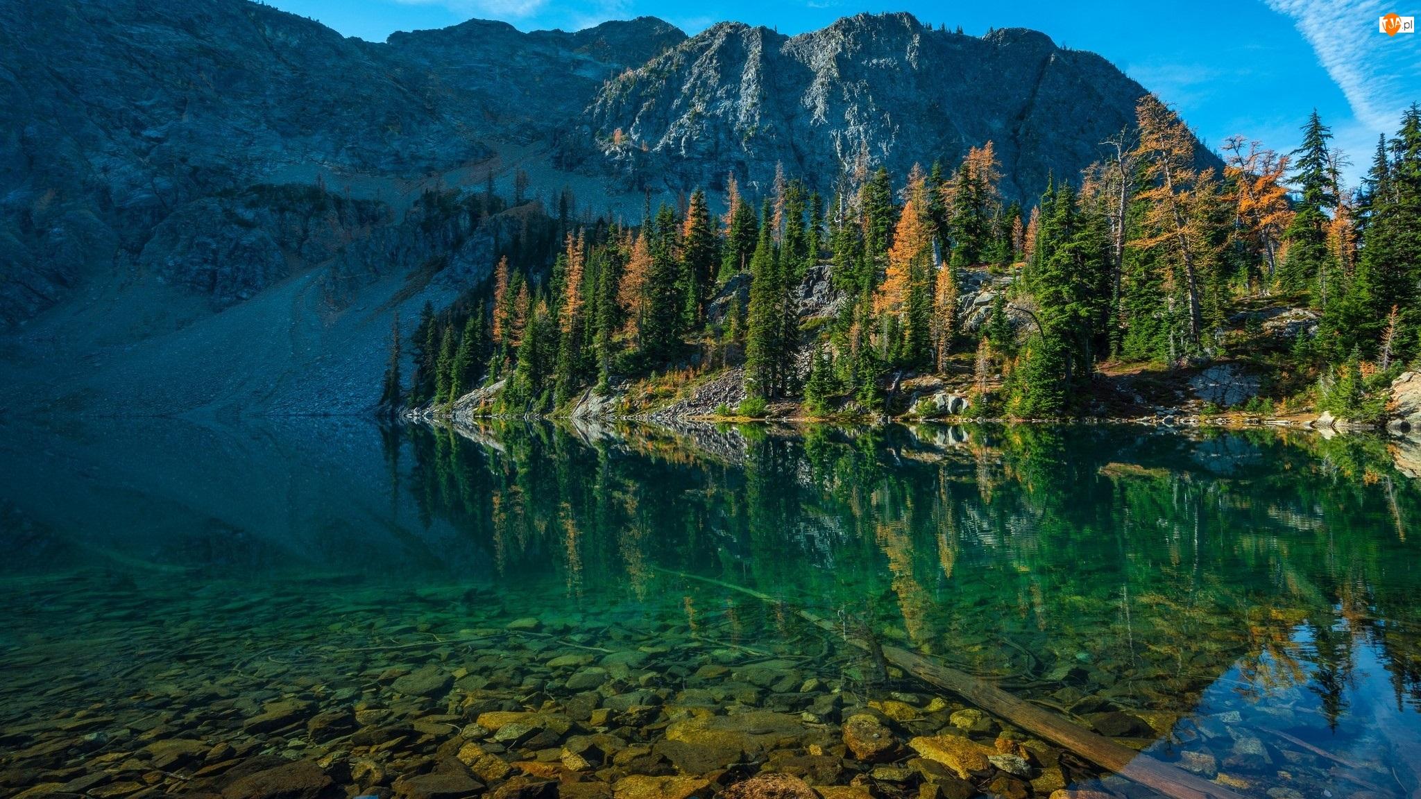 Jezioro, Góry, Drzewa, Odbicie, Kamienie, Świerki