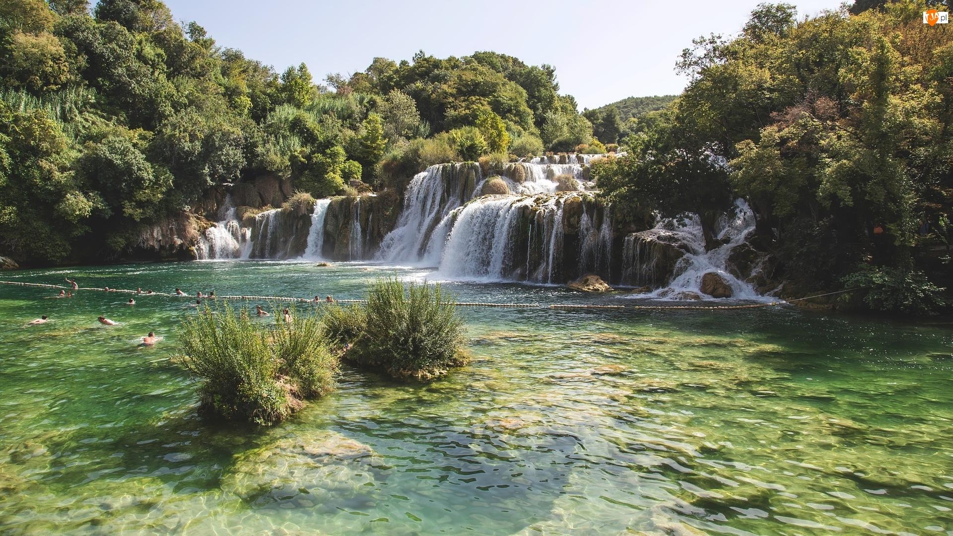 Wodospad, Skradinski Buk Waterfall, Chorwacja, Rzeka, Park Narodowy Krka, Drzewa, Krzewy