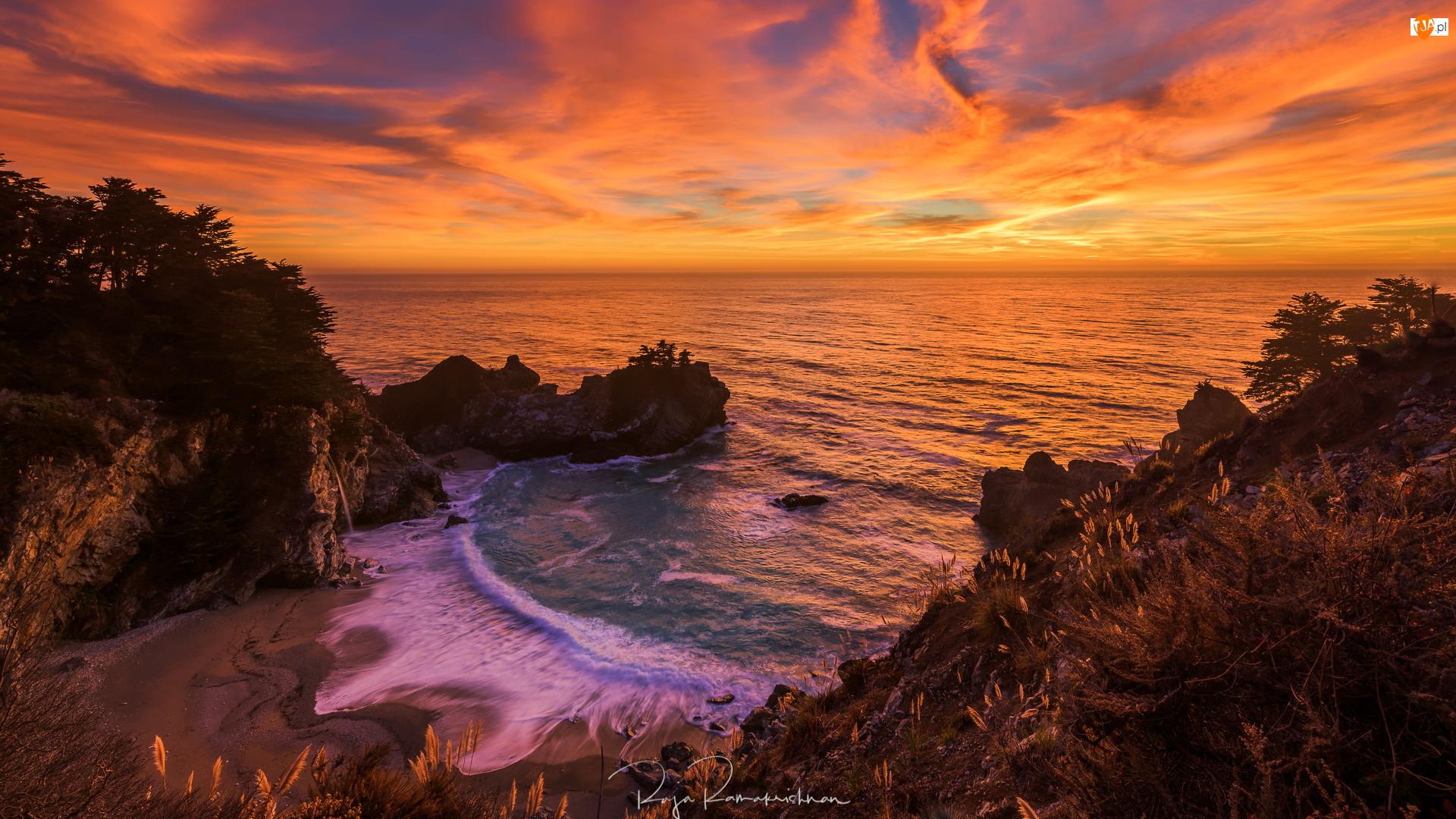 Stany Zjednoczone, Morze, Kalifornia, Plaża, Park stanowy Julii Pfeiffer Burns, Zatoka McWay Cove, Skały, Wschód słońca, Drzewa