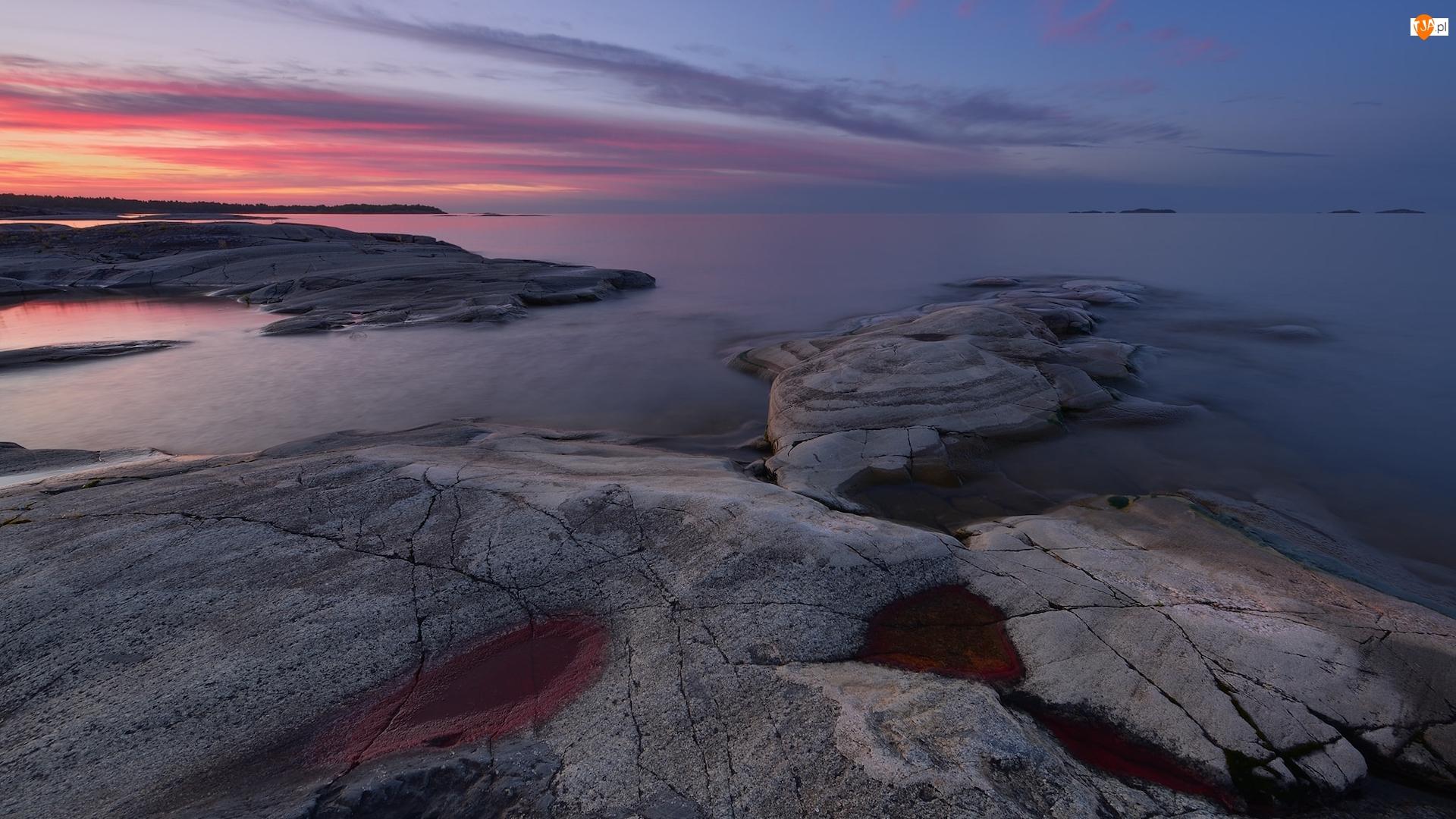 Karelia, Jezioro, Wschód słońca, Rosja, Chmury, Skały, Ładoga