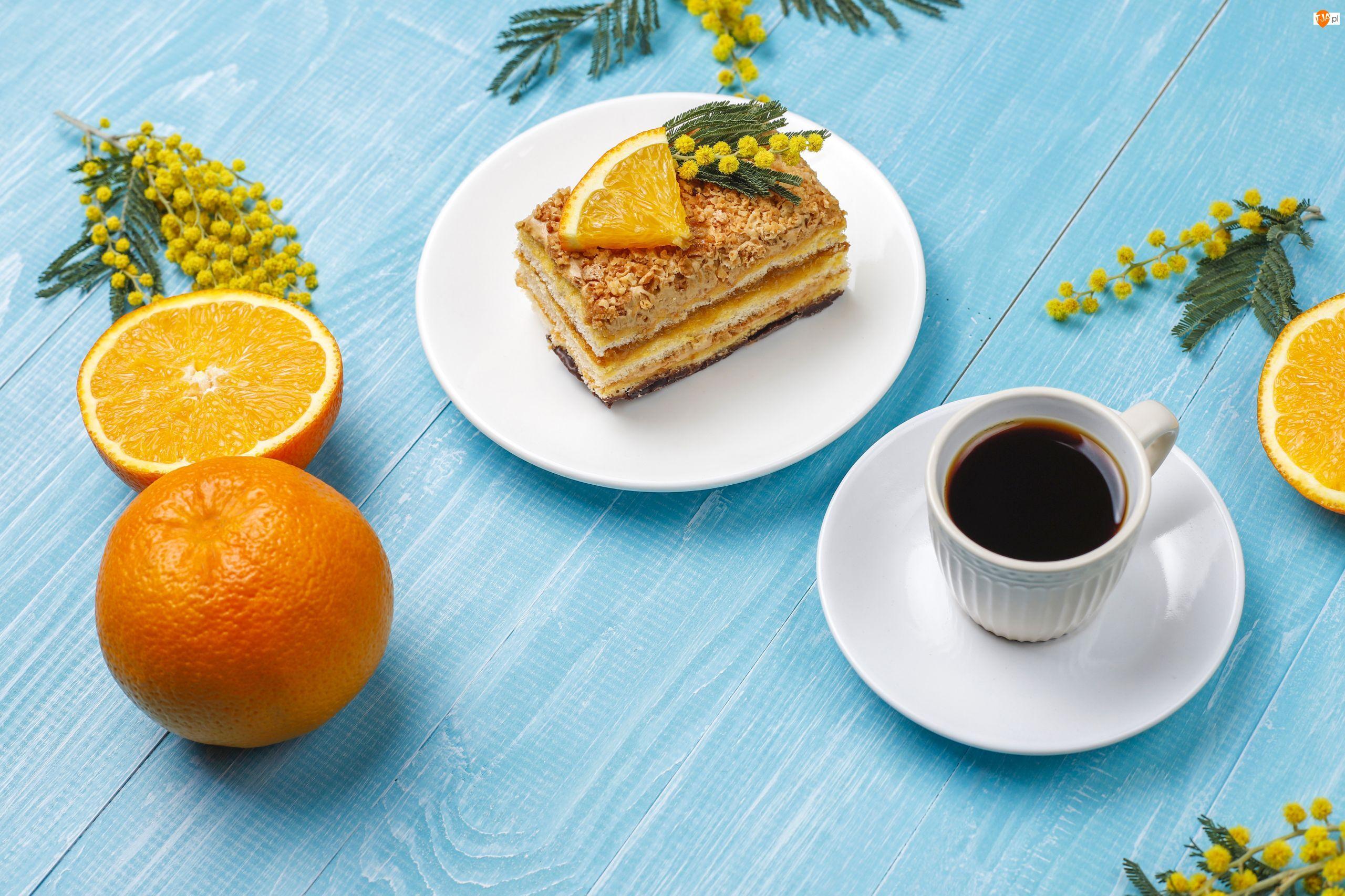 Pomarańcza, Ciasto, Filiżanka, Kawa