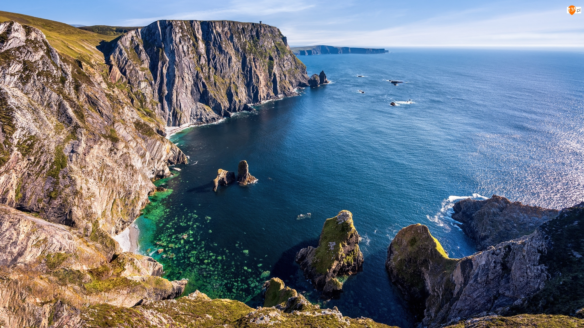 Wybrzeże, Hrabstwo Donegal, Zatoka, Skały, Klif, Glencolmcille, Cypel Sturrall, Irlandia, Morze