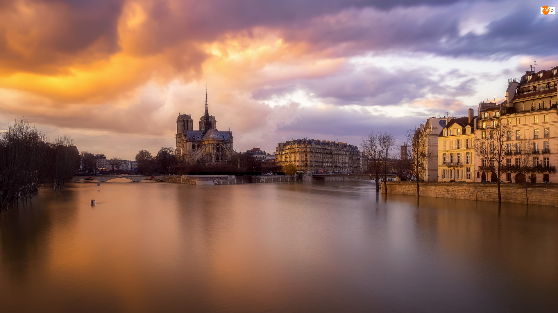 Domy, Francja, Katedra Notre Dame, Rzeka Sekwana, Paryż