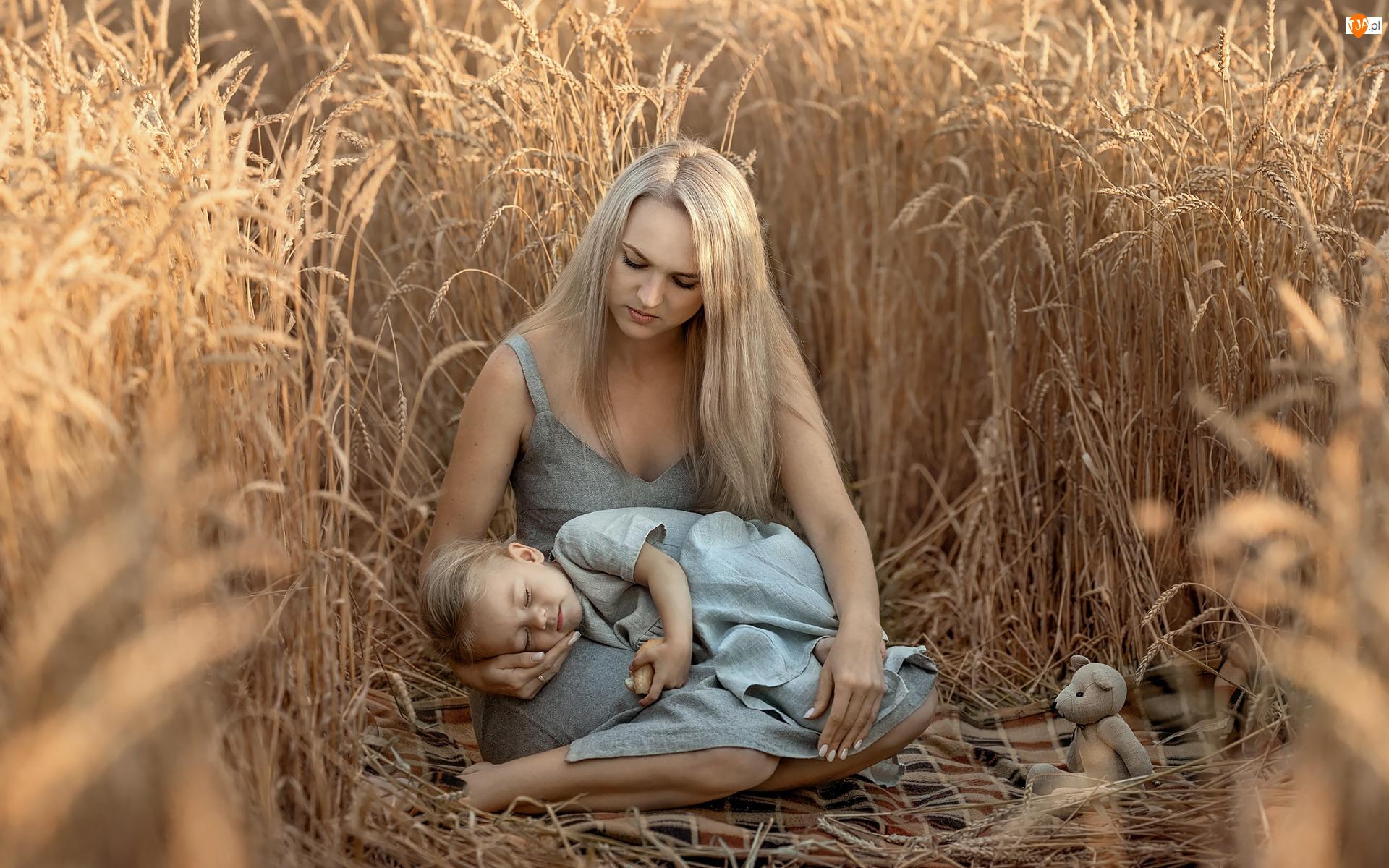 Zboże, Kobieta, Córka, Pole, Matka, Dziecko, Dziewczynka