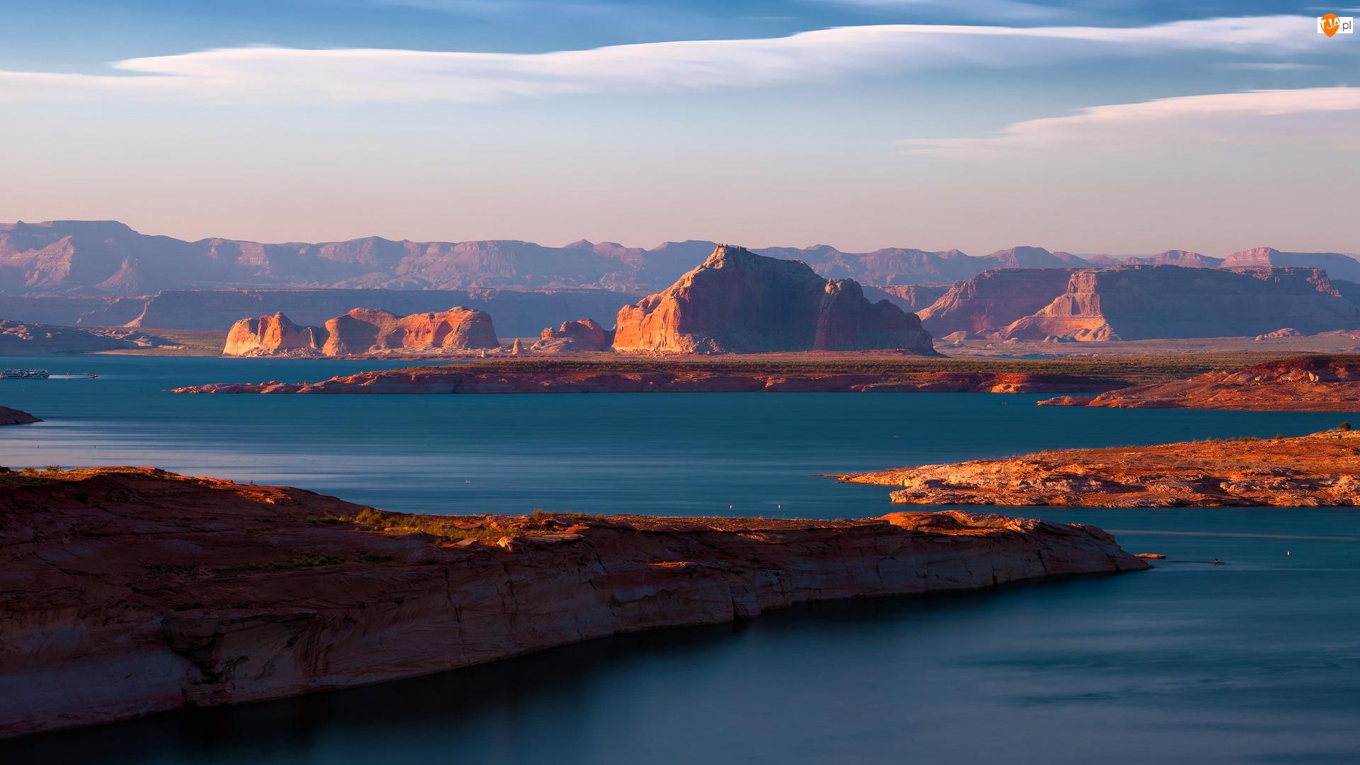 Lake Powell, Kanion, Stany Zjednoczone, Jezioro, Arizona, Skały, Glen Canyon