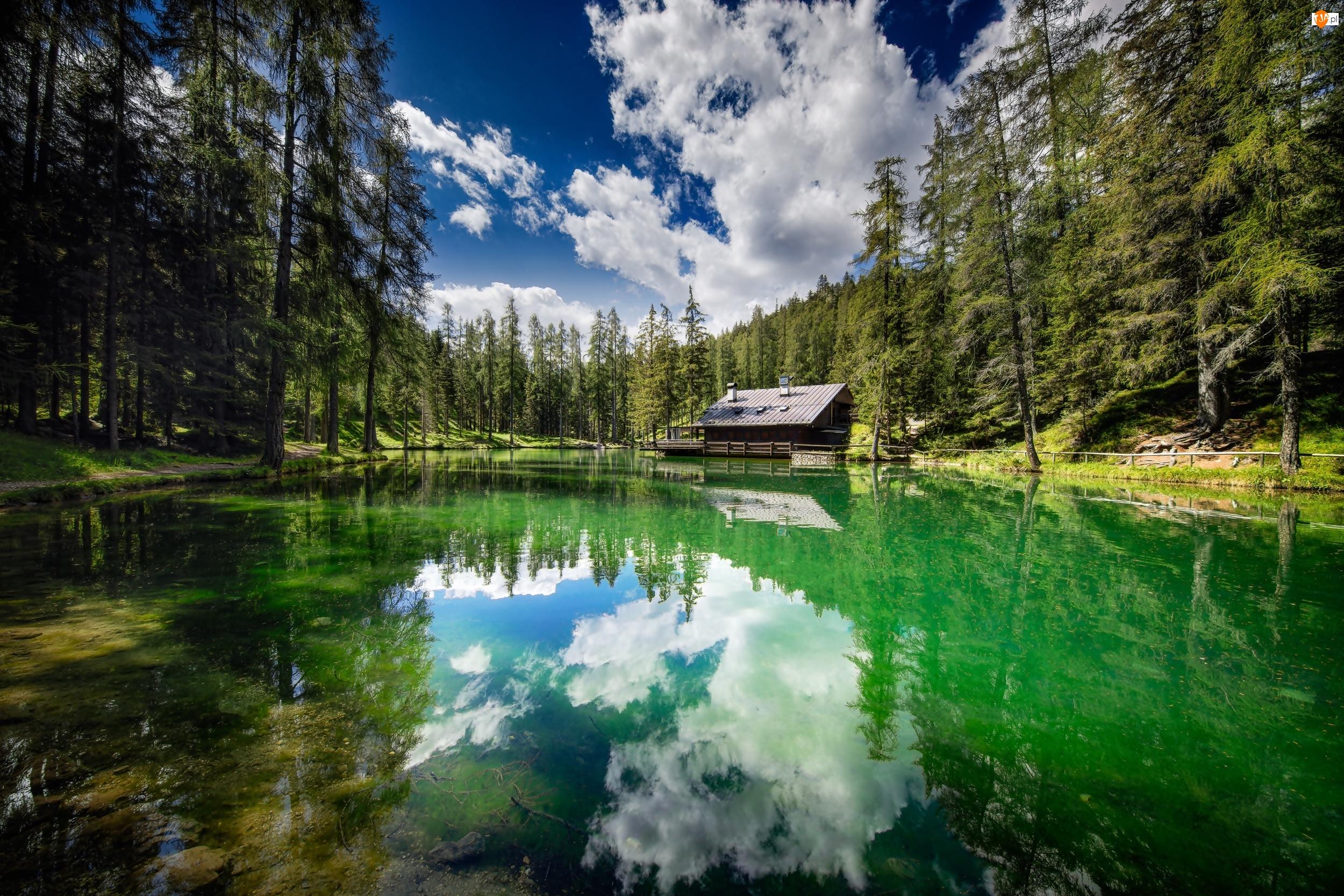 Cortina d Ampezzo, Jezioro, Drzewa, Włochy, Las, Dom, Lago Ghedina