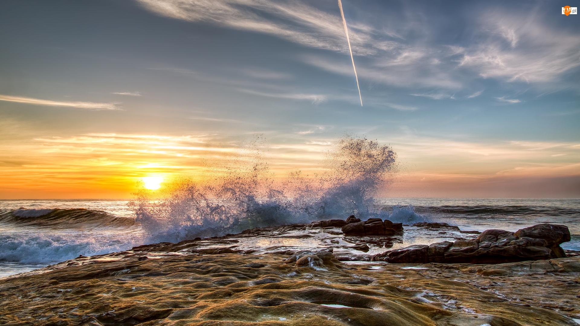 Skały, Morze, San Diego, Stany Zjednoczone, Fala, Kalifornia