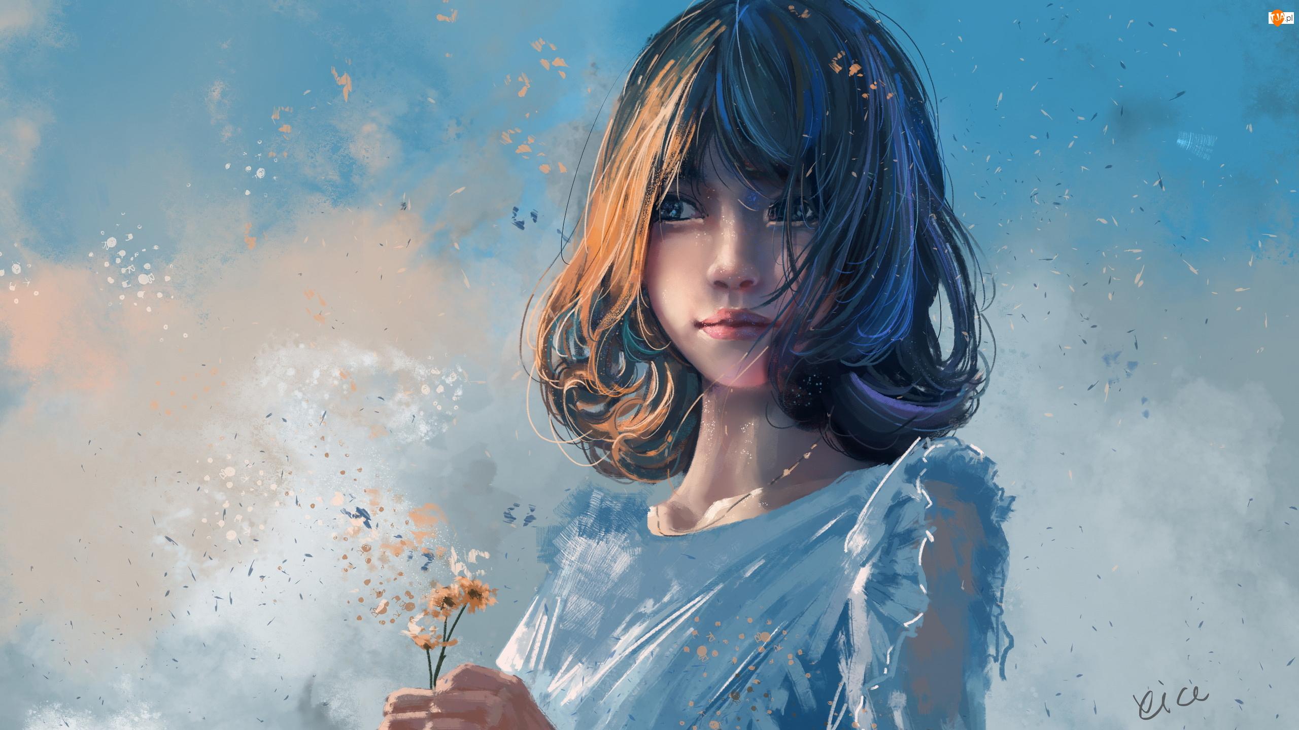 Bluzka, Grafika, Dziewczynka, Niebieska