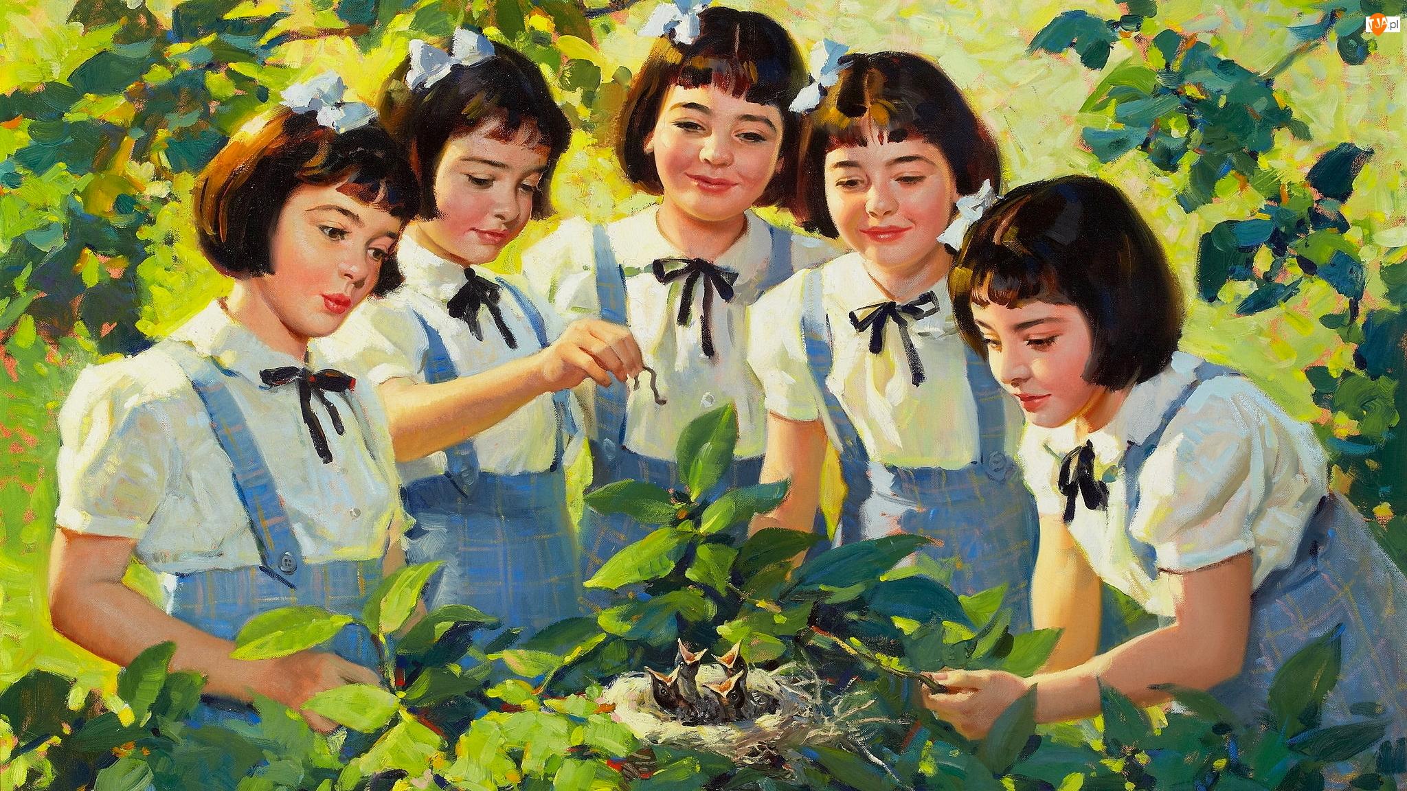 Obraz, Malarstwo, Dziewczynki, Gniazdo, Andrew Loomis, Pisklęta