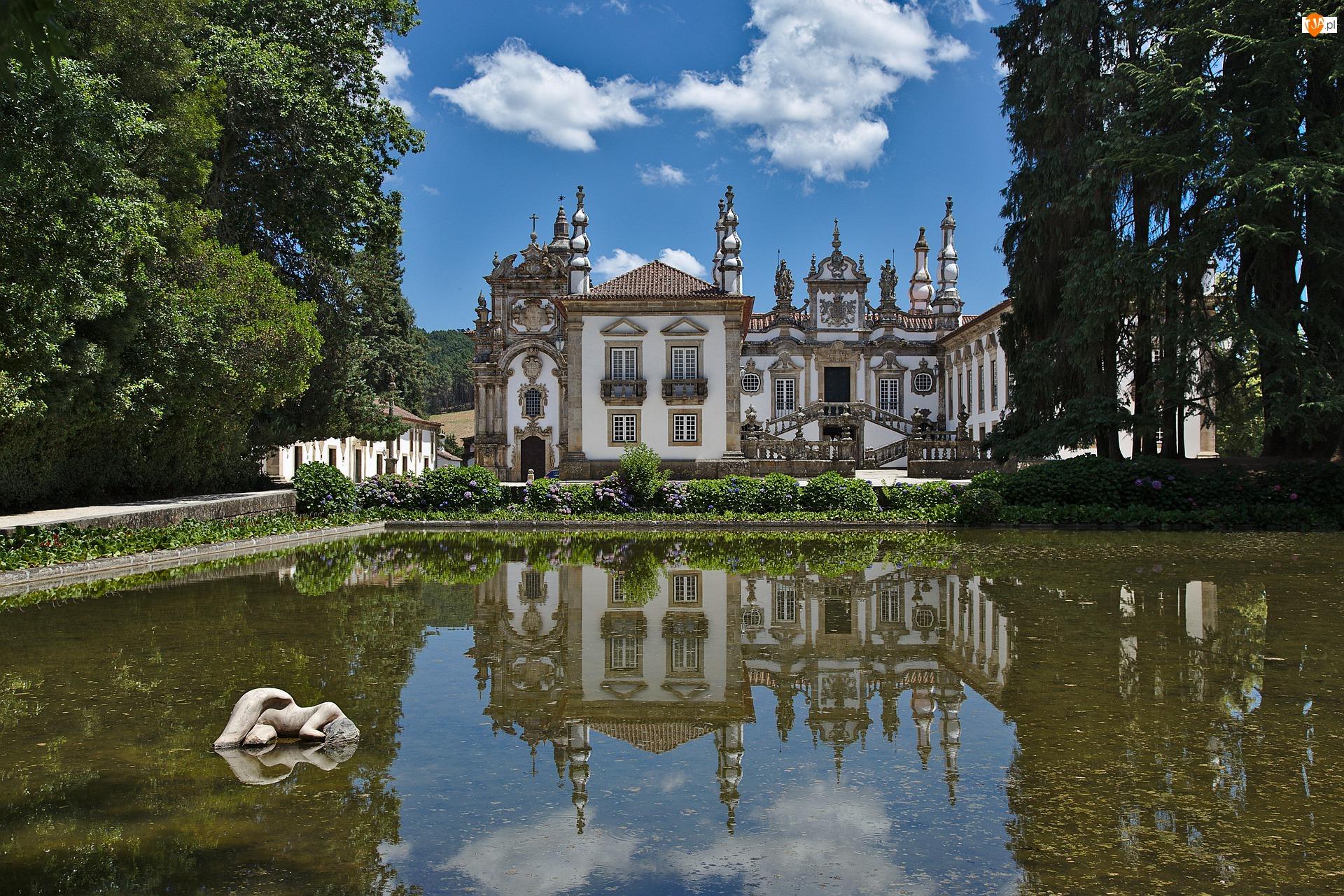 Casa de Mateus, Pałac, Staw, Portugalia, Drzewa, Vila Real
