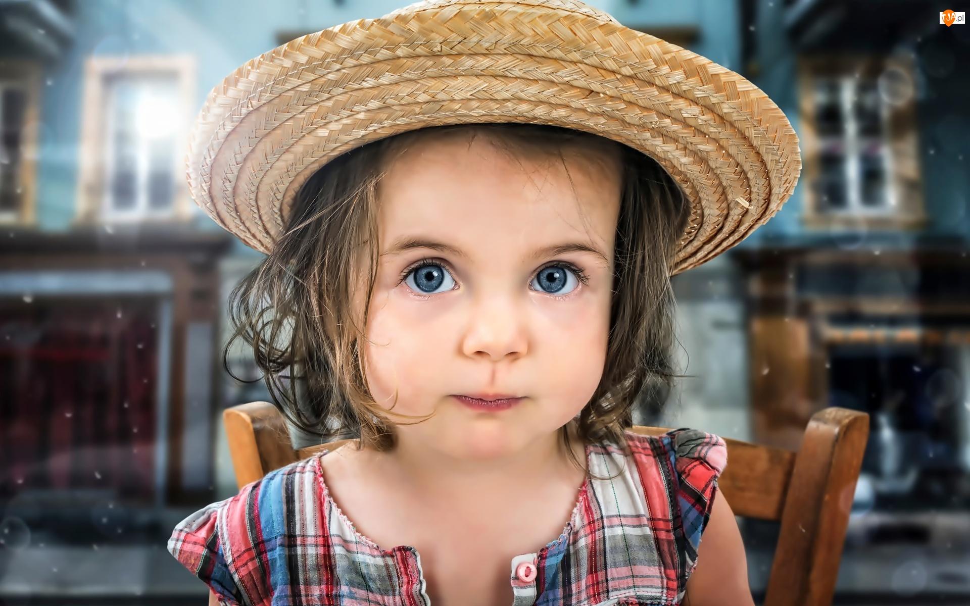 Dziewczynka, Twarz, Kapelusz, Dziecko, Słomiany, Oczy, Duże