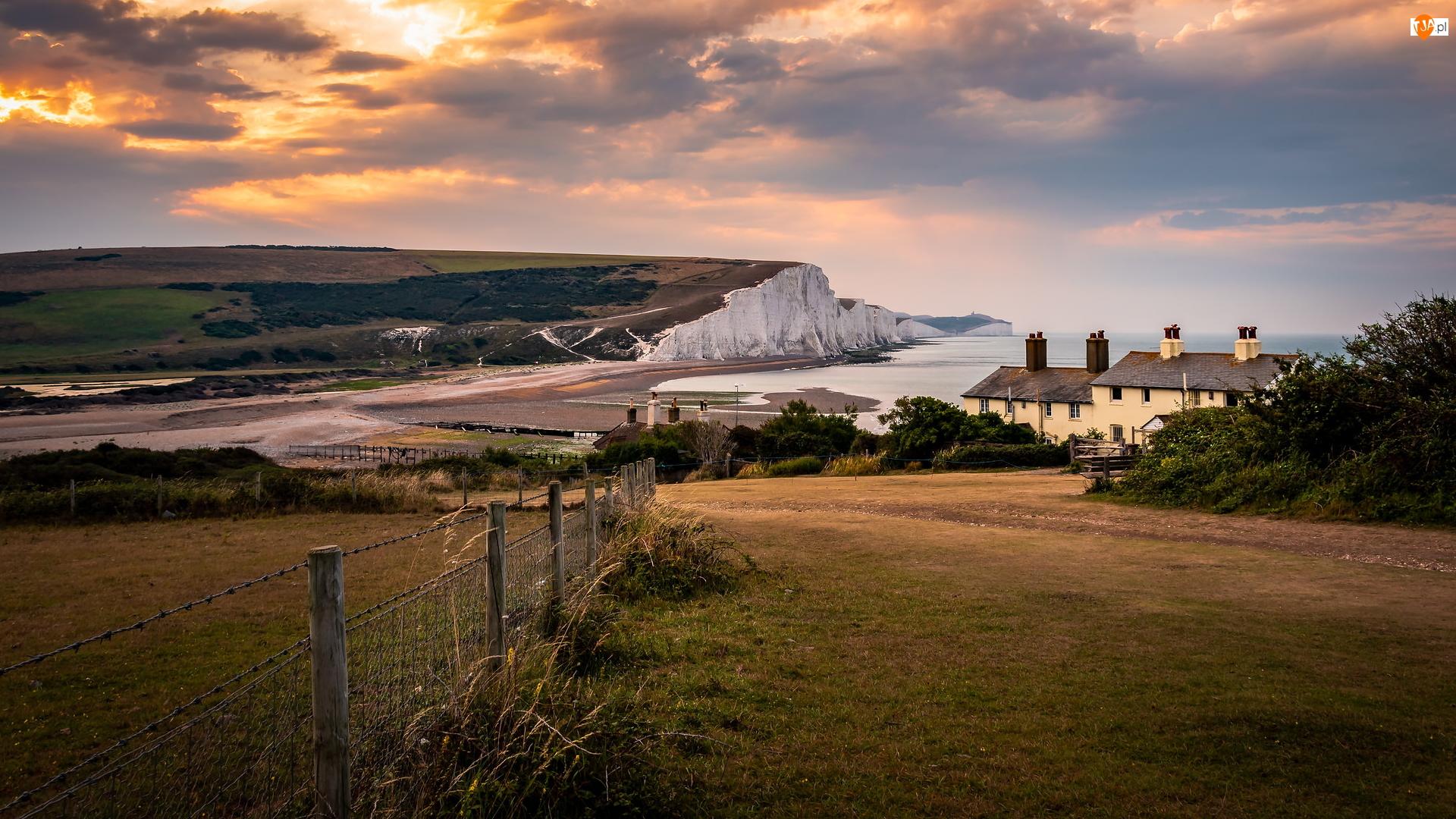 Anglia, Wzgórza, Eastbourne, Domy, Ogrodzenie, Klify, Beachy Head, Park Narodowy South Downs, Morze