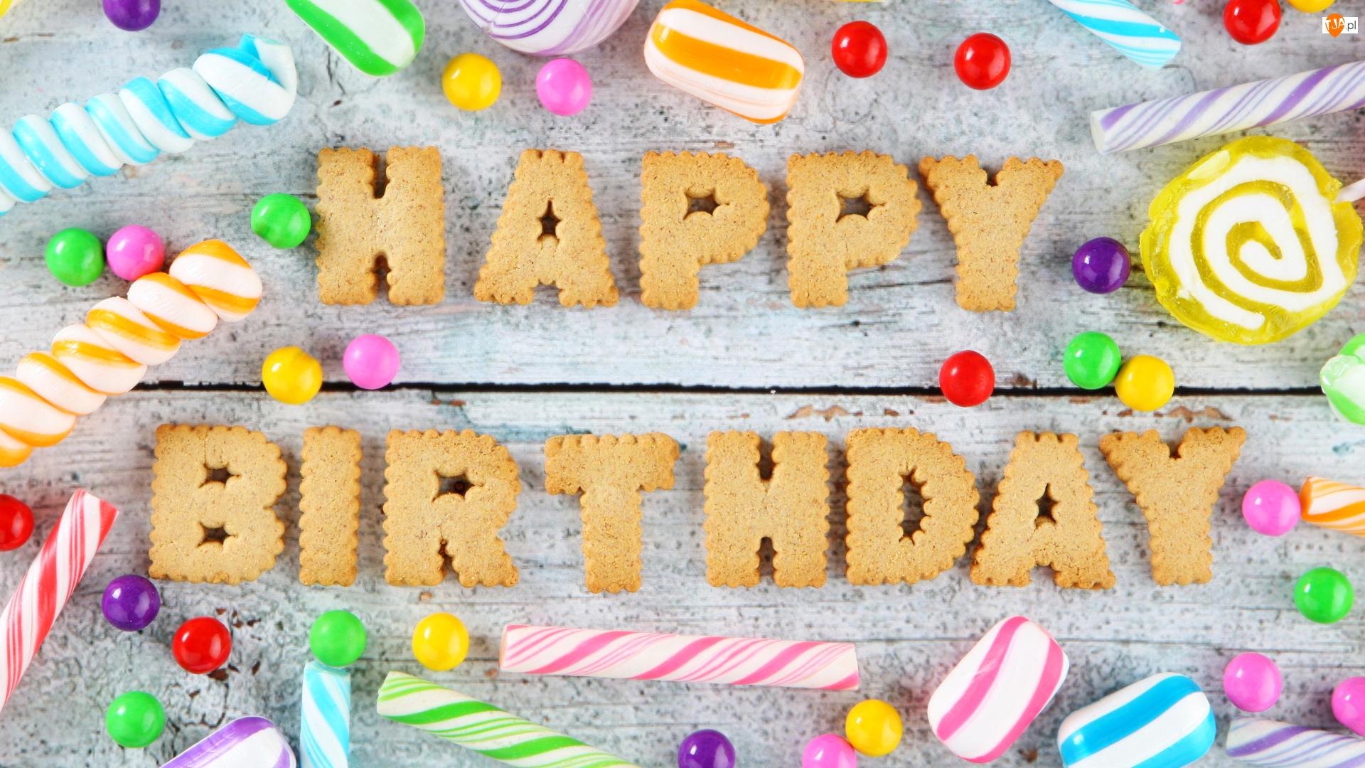 Lizaki, Cukierki, Urodziny, Happy Birthday, Ciasteczka, Napis