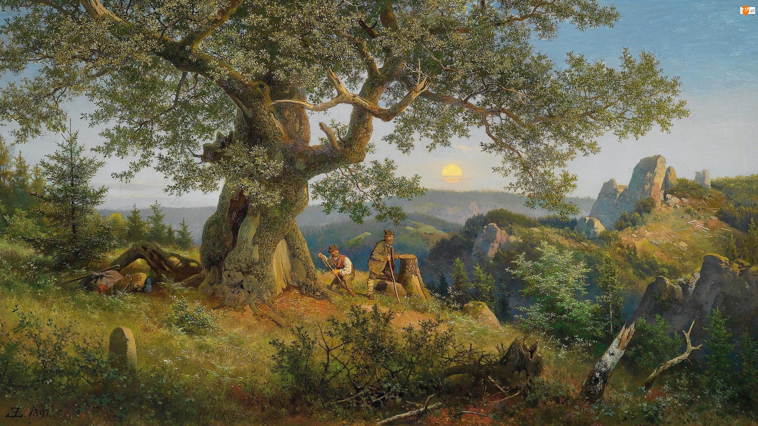 Obraz, Malarstwo, Mężczyźni, Drzewo, Eduard Leonhardi, Wzgórze