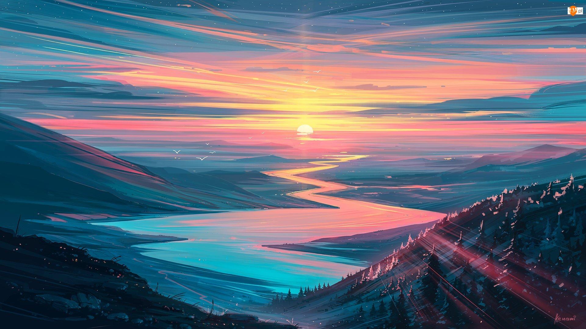 Rzeka, Grafika, Kręta, Wschód słońca, Góry