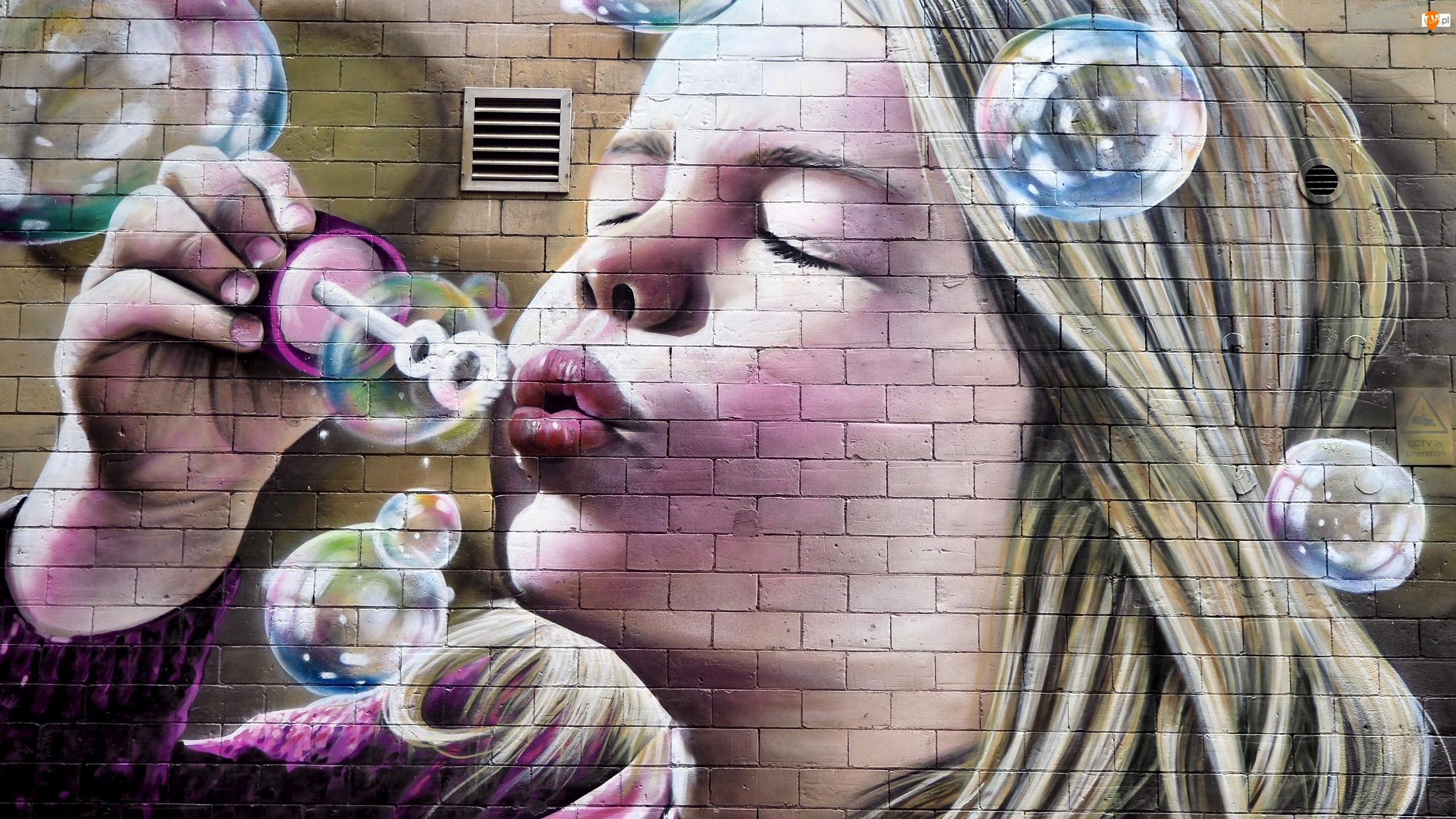 Bańki, Street art, Ściana, Dziewczynka