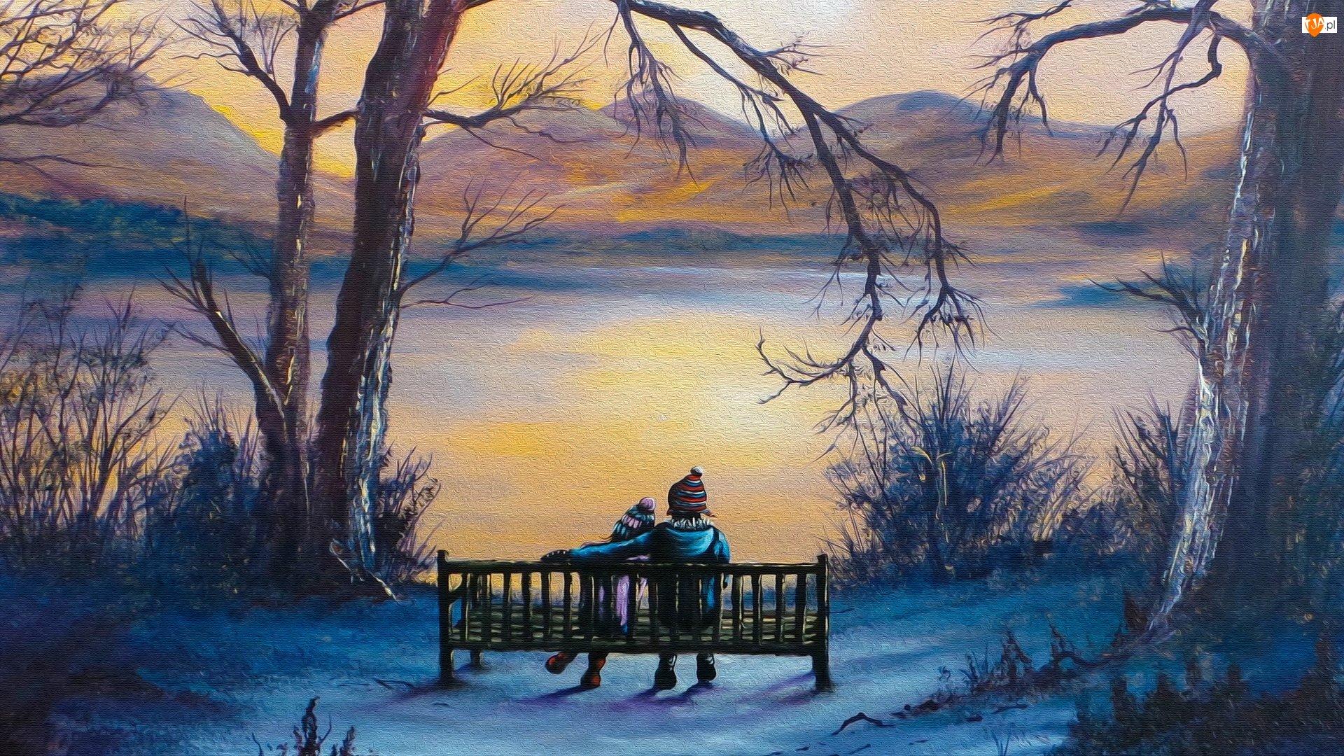 Ławka, Zima, Drzewa, Dzieci, Jezioro, Śnieg, Grafika, Góry