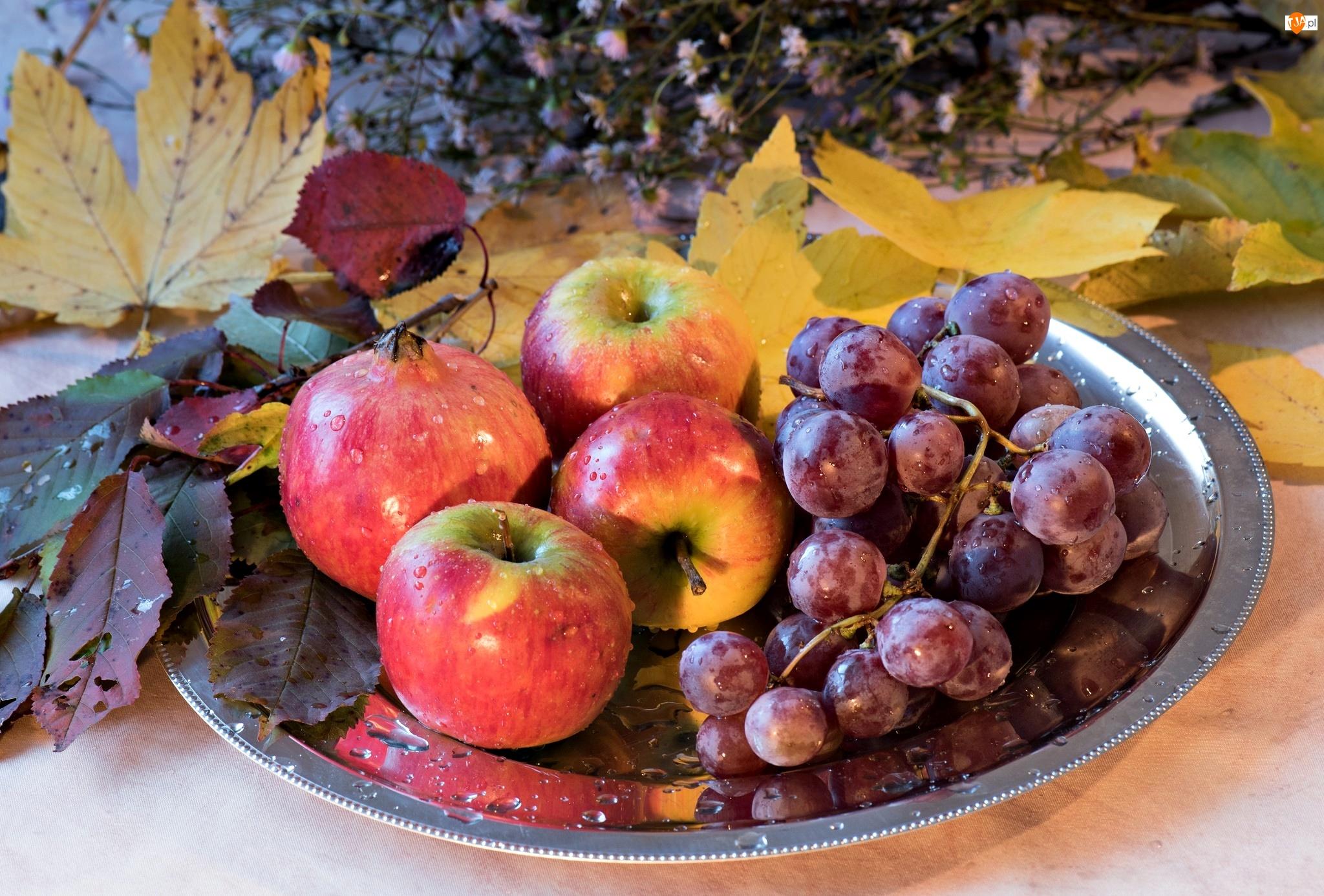 Jabłka, Winogrona, Liście, Kompozycja, Granat, Taca
