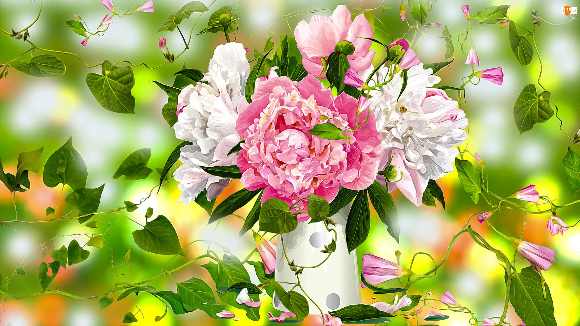 Grafika 2D, Kwiaty, Piwonie, Wazon