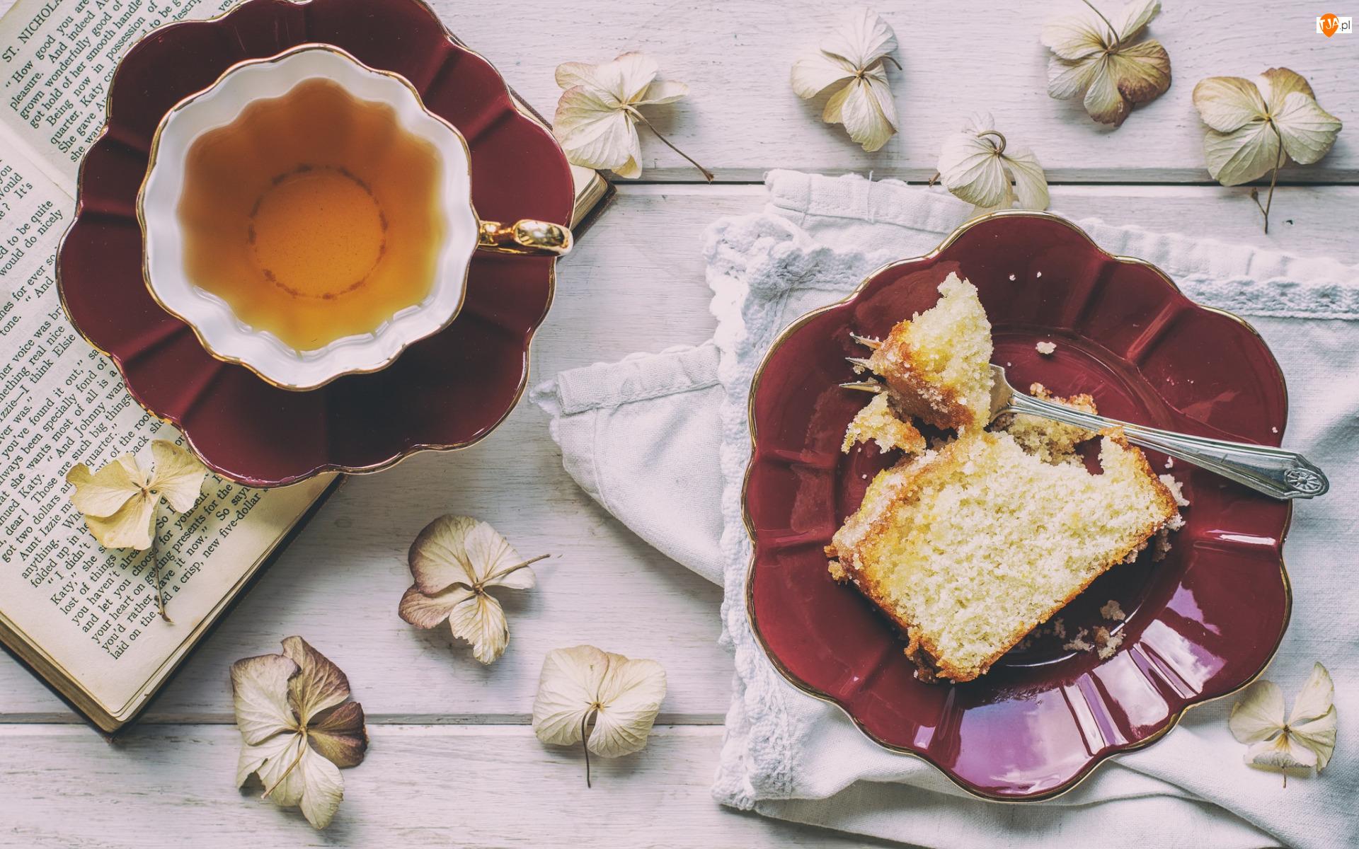 Ciasto, Kwiaty, Filiżanka, Herbata, Książka
