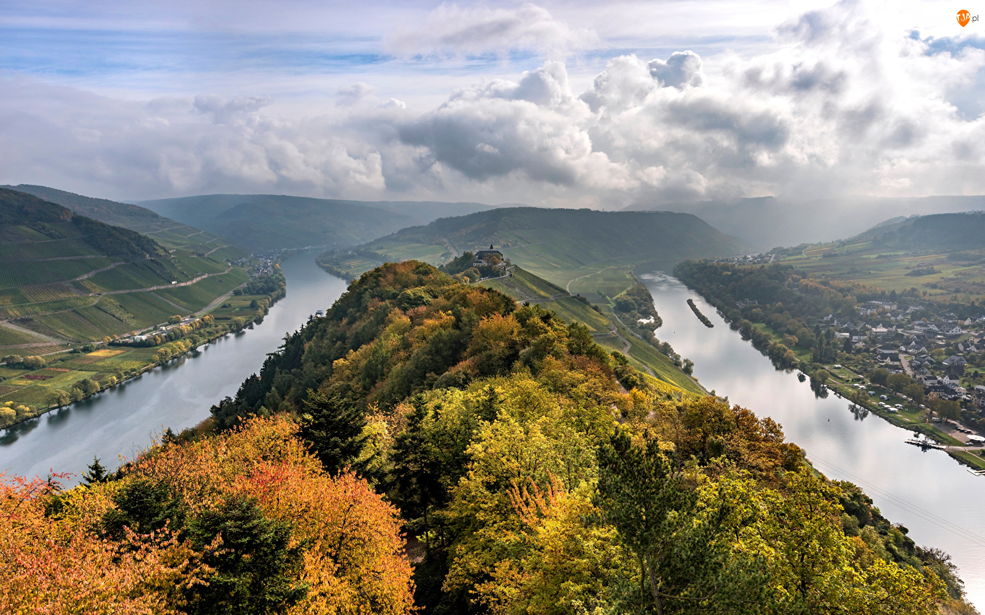 Wzgórze, Chmury, Jesień, Niemcy, Rzeka Mozela