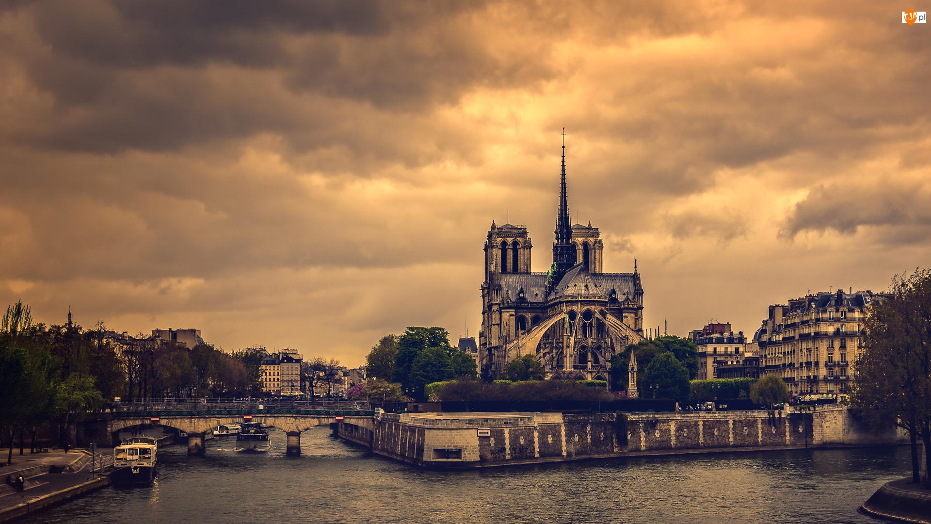 Most, Rzeka Sekwana, Domy, Francja, Katedra Notre Dame, Paryż