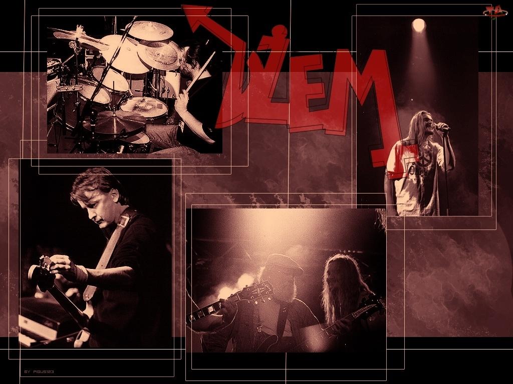 Dżem, człowiek, perkusja, gitara