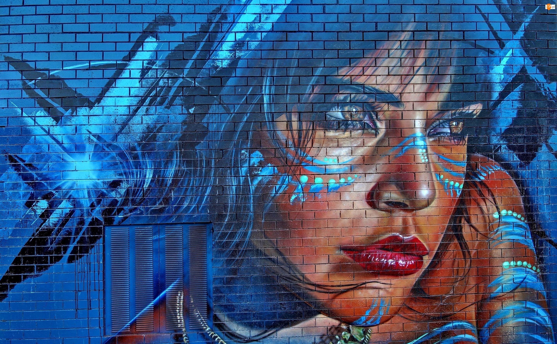 Street art, Dziewczyna, Makijaż, Mural