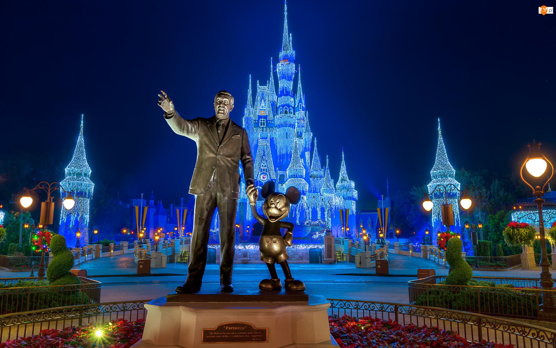Stany Zjednoczone, Zamek, Orlando, Walt Disney, Disneyland, Park rozrywki, Pomnik, Walt Disney World Resort, Myszka Miki, Floryda
