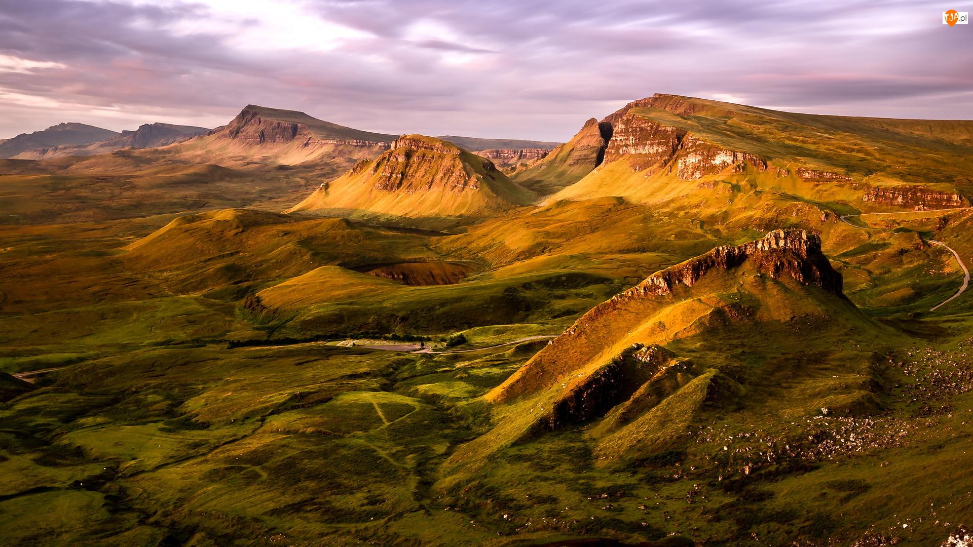 Wzgórza, Jezioro, Szkocja, Góry, Wyspa Skye, Quiraing, Osuwisko