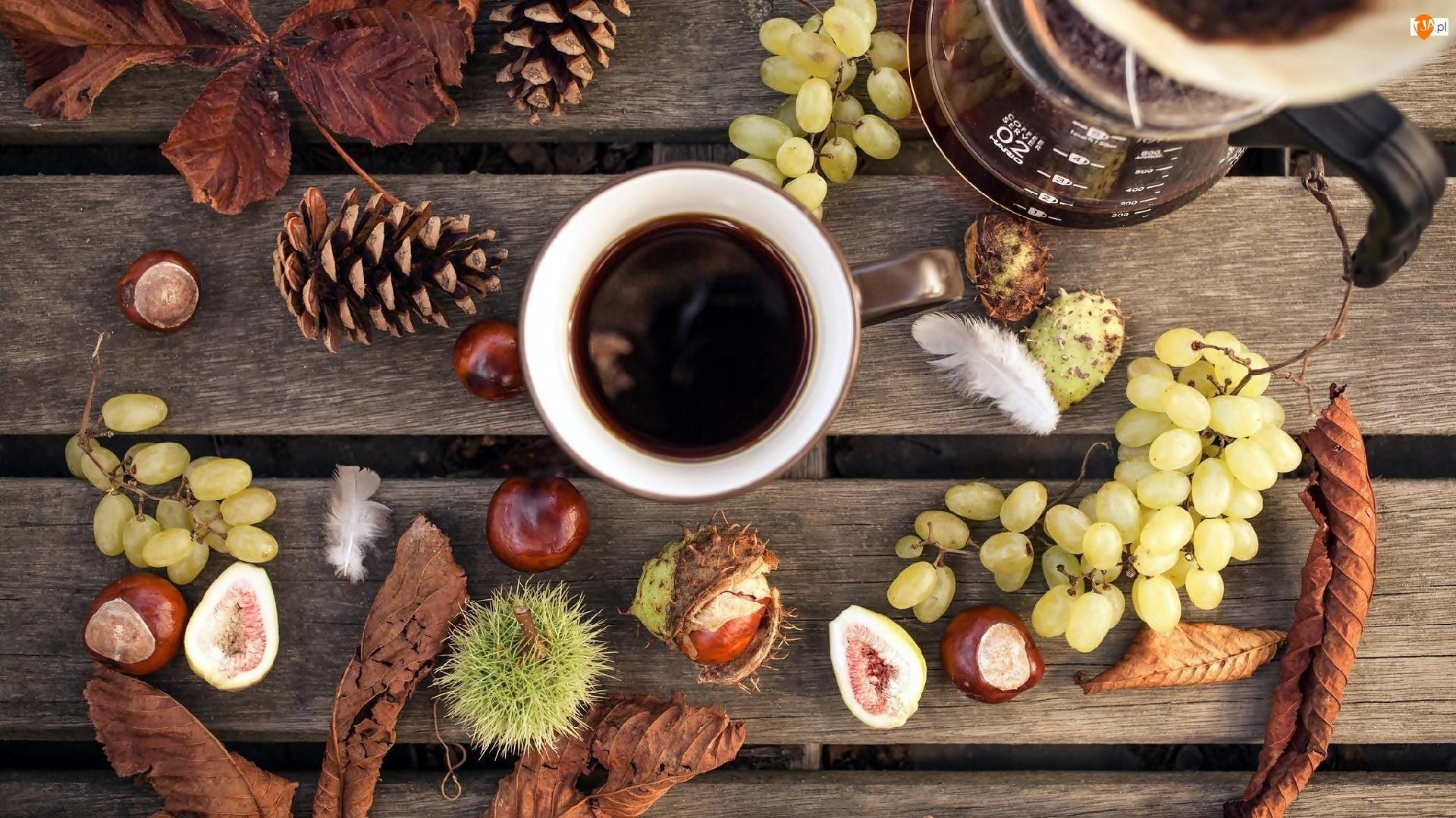 Ławka, Kawa, Winogrona, Jesienna, Kasztany, Liście, Kompozycja, Szyszki