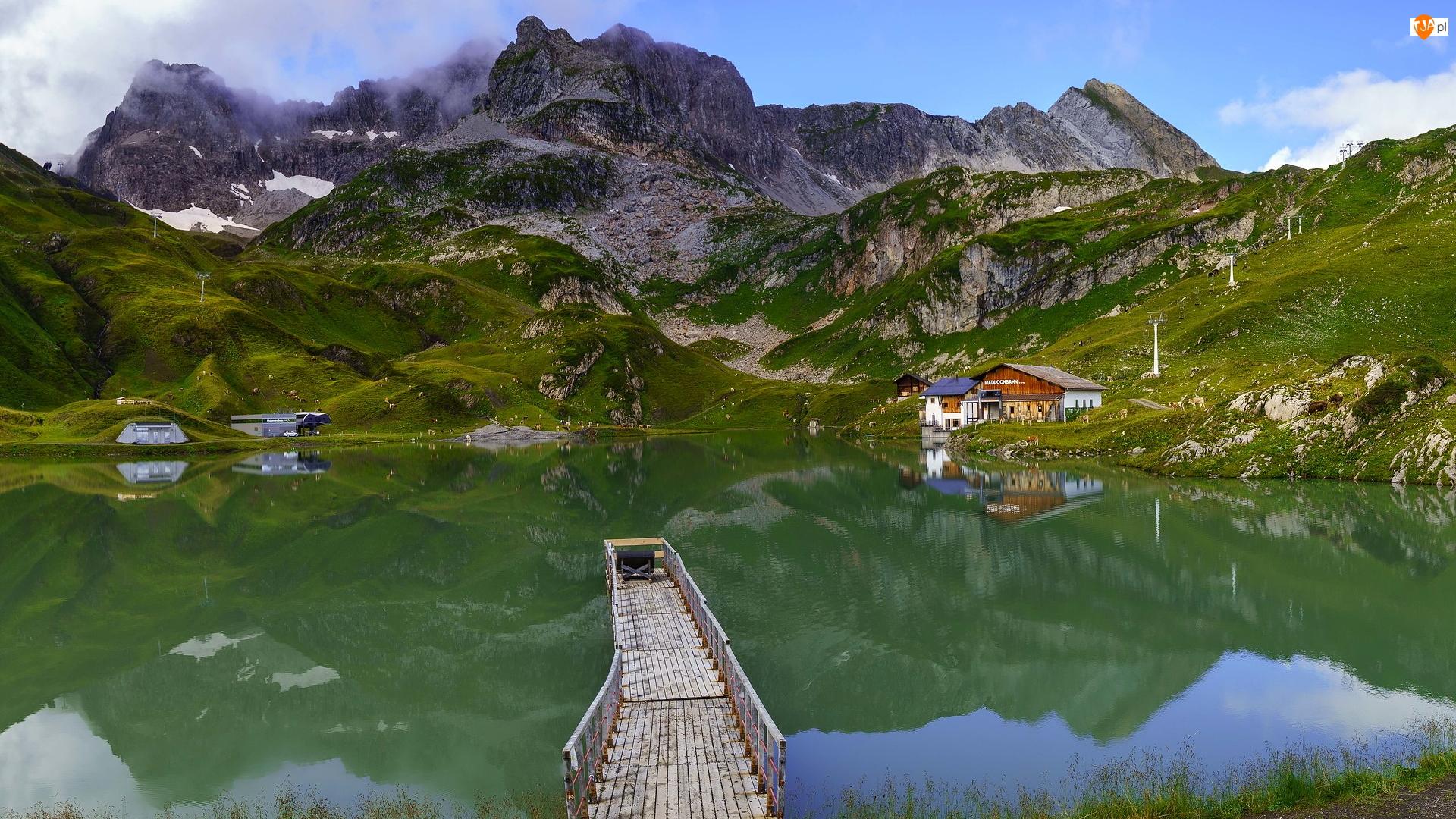 Zurser See, Jezioro, Domy, Austria, Pomost, Góry