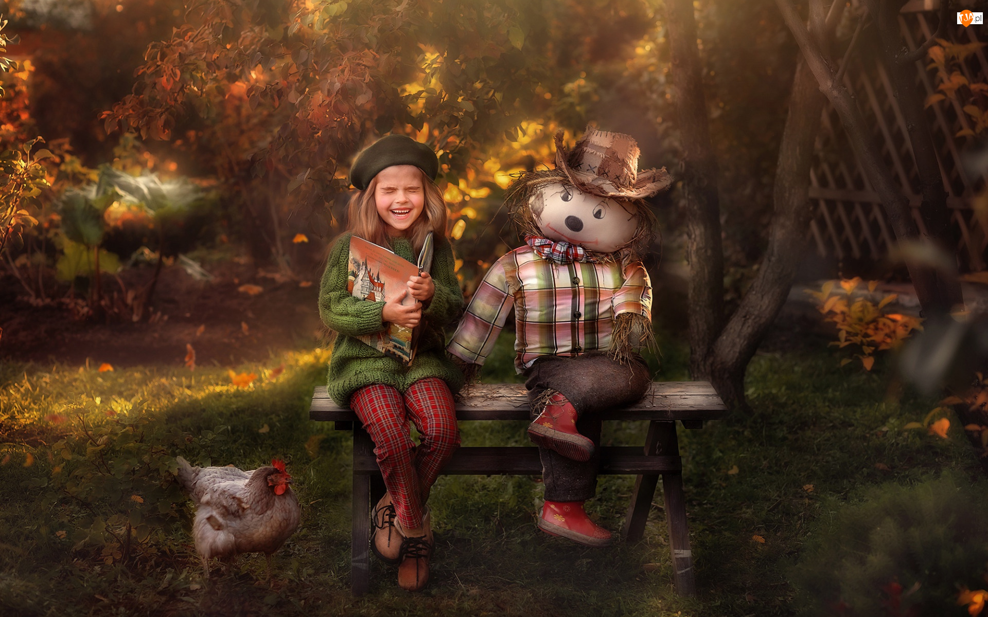 Liście, Lalka, Ławka, Szmaciana, Radość, Jesień, Kura, Śmiech, Dziewczynka, Drzewa