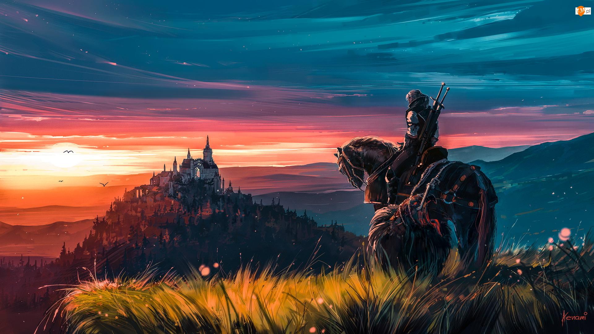 Jeździec, Wiedźmin, Koń, Grafika, Zamek