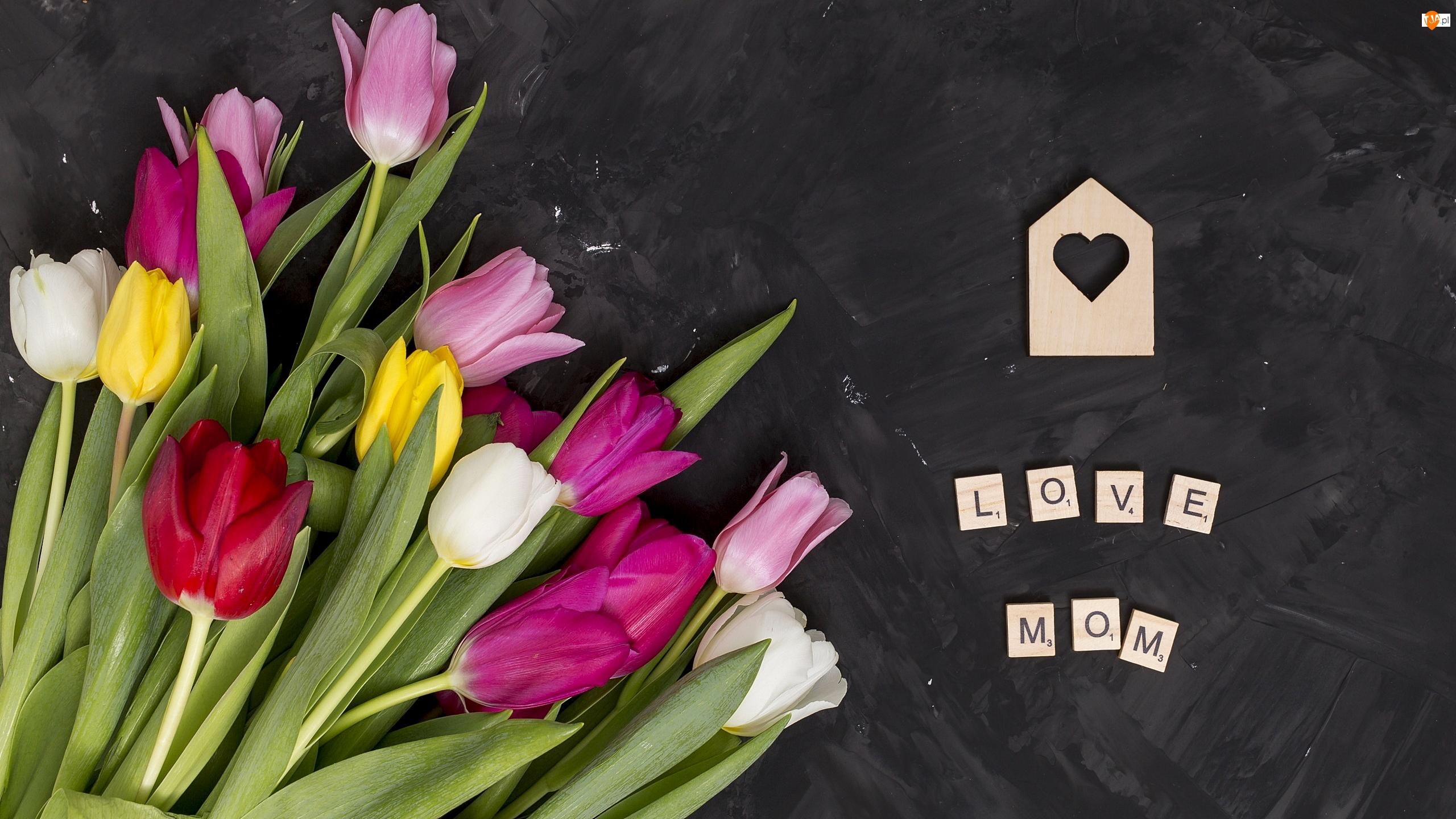 Napis, Love Mom, Tło, Dzień Matki, Ciemne, Tulipany, Kolorowe