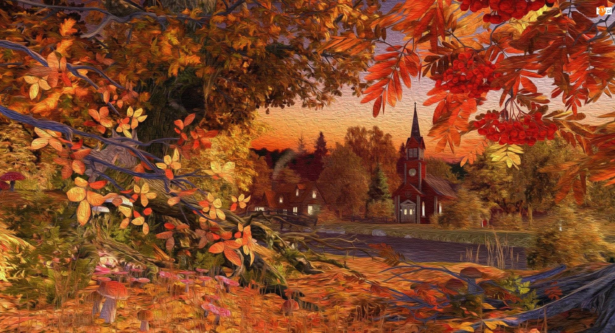 Drzewa, Jesień, Rzeka, Grafika, Liście, Kościół