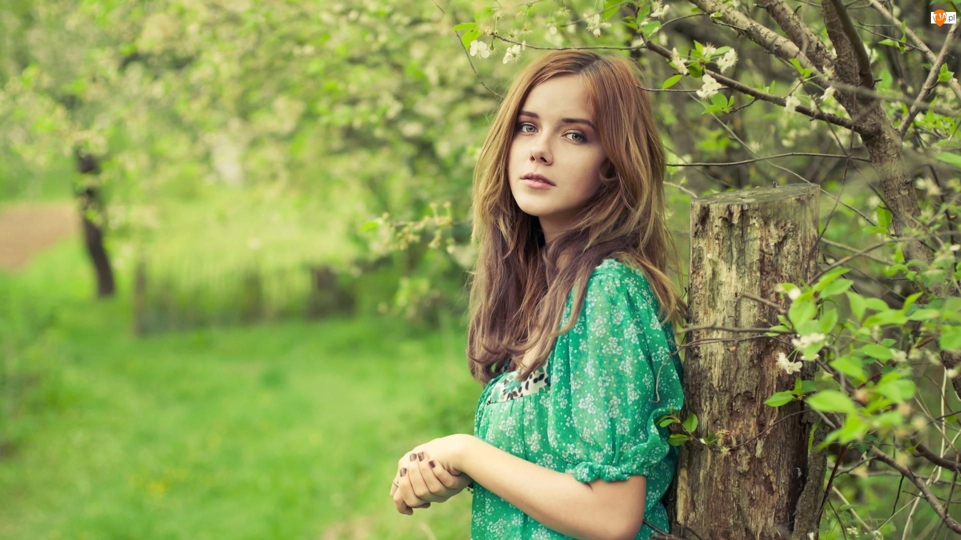 Drzewa, Dziewczyna, Zielona, Bluzka