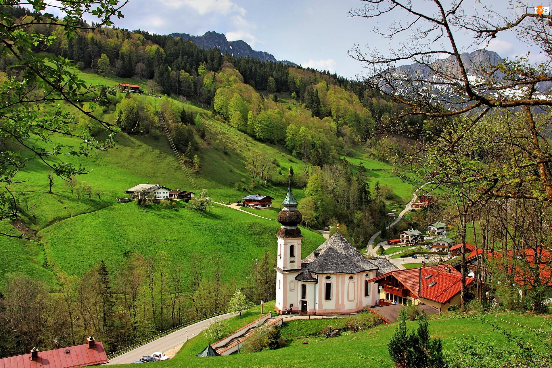 Niemcy, Sanktuarium Maria Gern, Bawaria, Drzewa, Berchtesgaden, Góry, Alpy Salzburskie, Kościół, Lasy