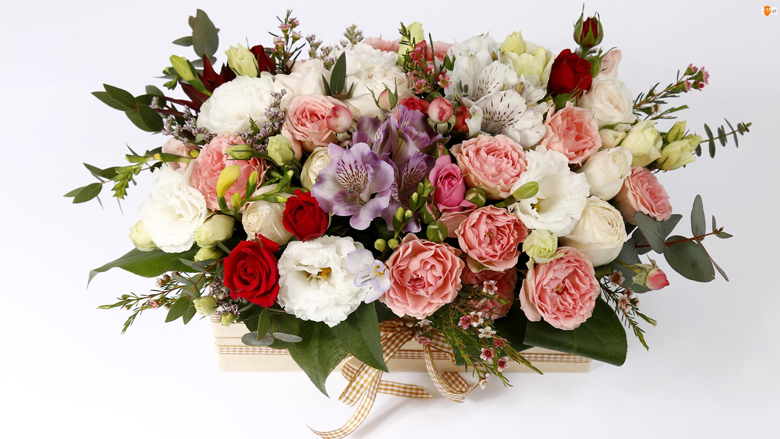Bukiet, Róże, Kokarda, Kwiaty, Skrzynka, Alstremerie, Eustomy