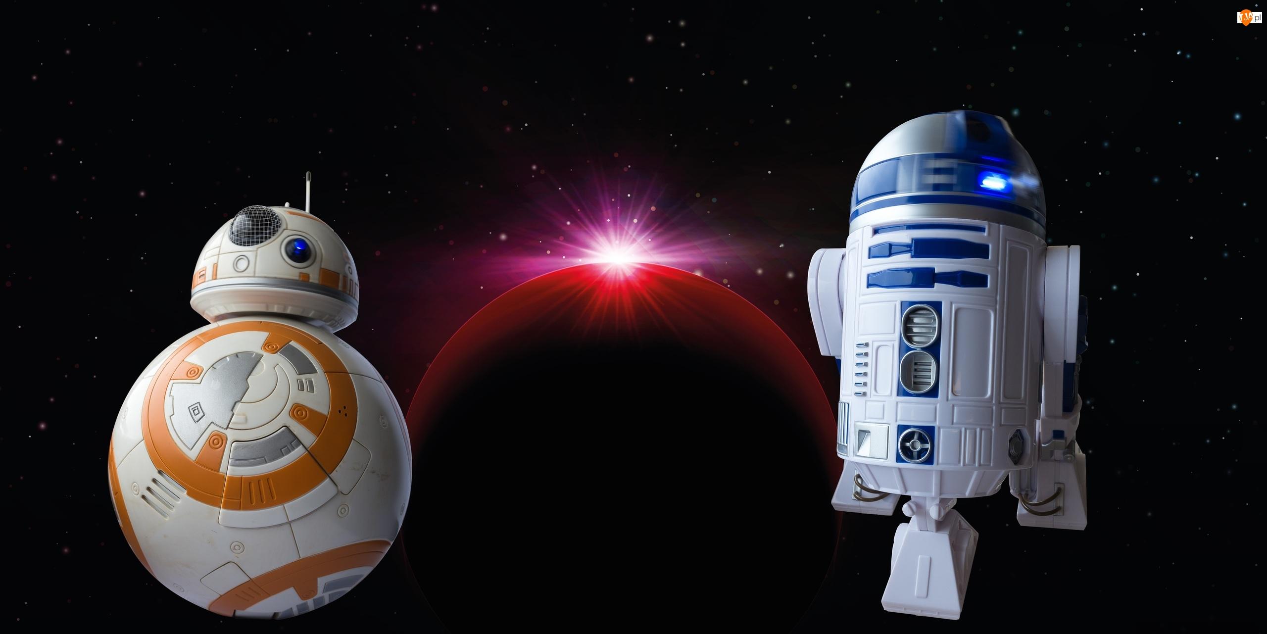 BB-8, Film, Roboty, Planeta, Gwiezdne wojny, R2-D2, Gwiazdy, Star Wars