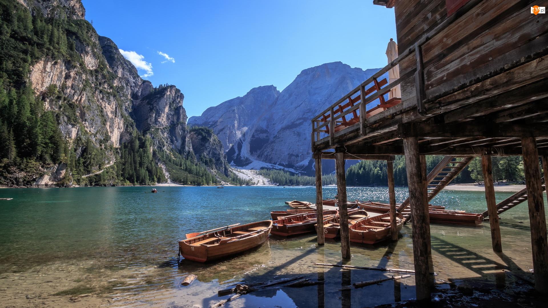 Łódki, Południowy Tyrol, Domek, Dolomity, Drewniany, Jezioro Pragser Wildsee, Lago di Braies, Włochy, Góry