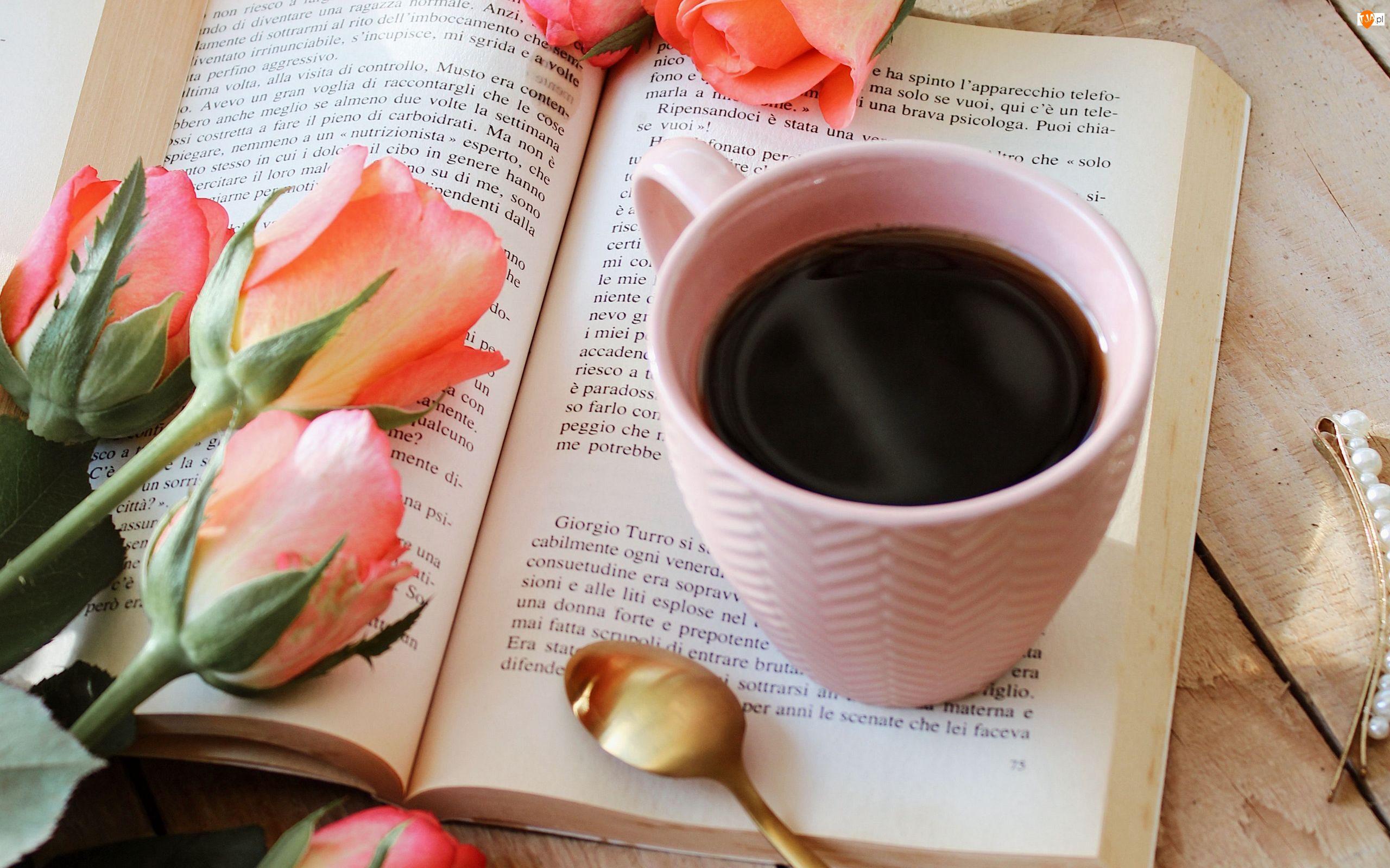 Książka, Róże, Kawa, Kubek, Kwiaty