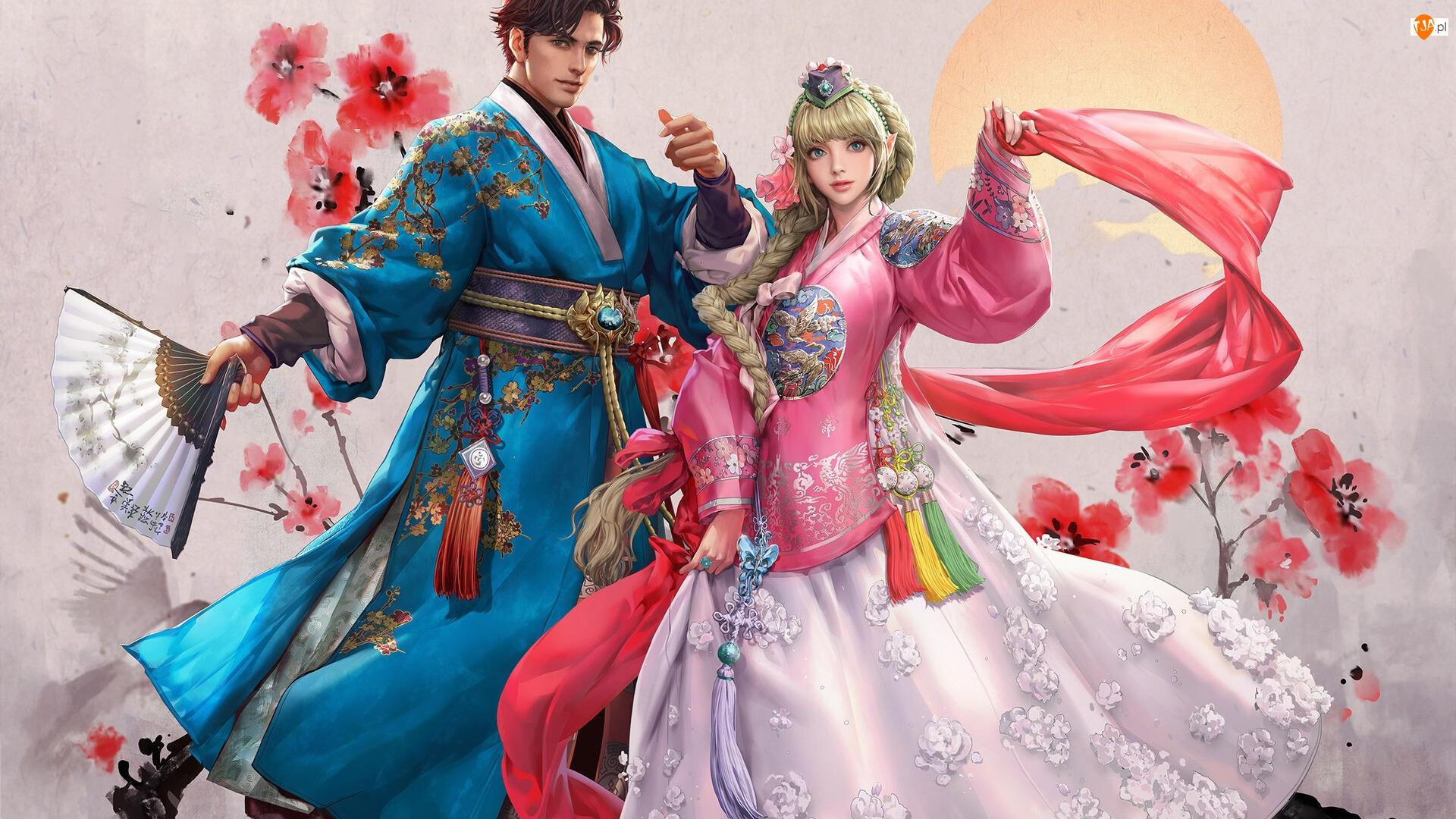 Kwiaty, Stroje hanbok, MU Origin, Gra, Para