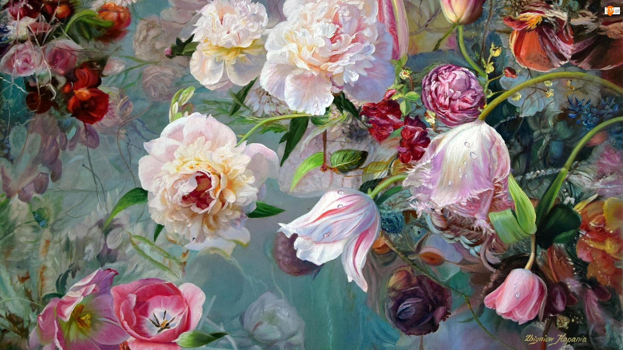 Obraz, Zbigniew Kopania, Piwonie, Malarstwo, Tulipany, Róże, Kwiaty