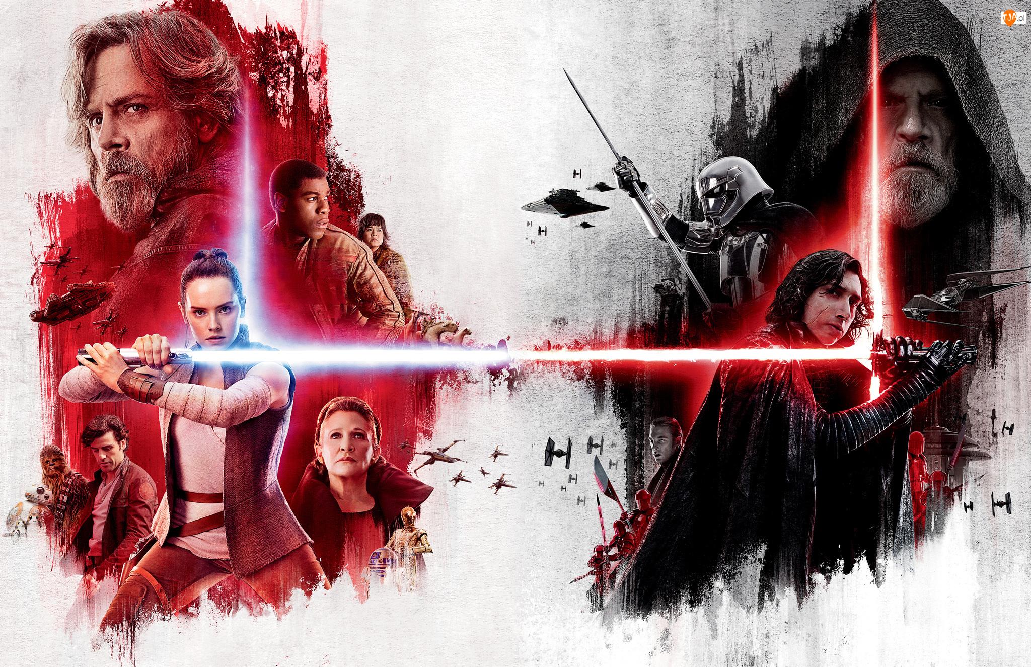 Gwiezdne wojny ostatni Jedi, Star Wars The Last Jedi, Grafika, Film, Świetlne, Miecze, Bohaterowie