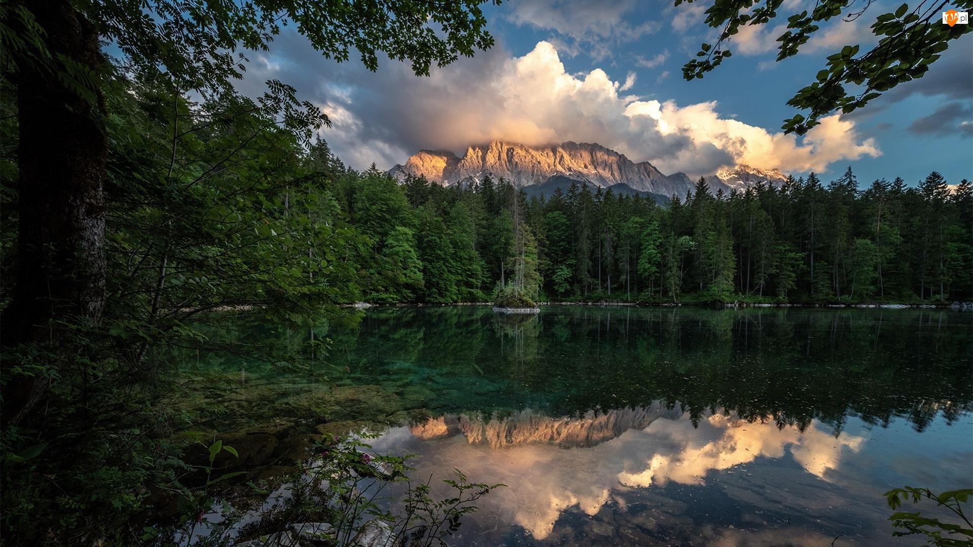 Jezioro, Chmury, Las, Góry, Drzewa