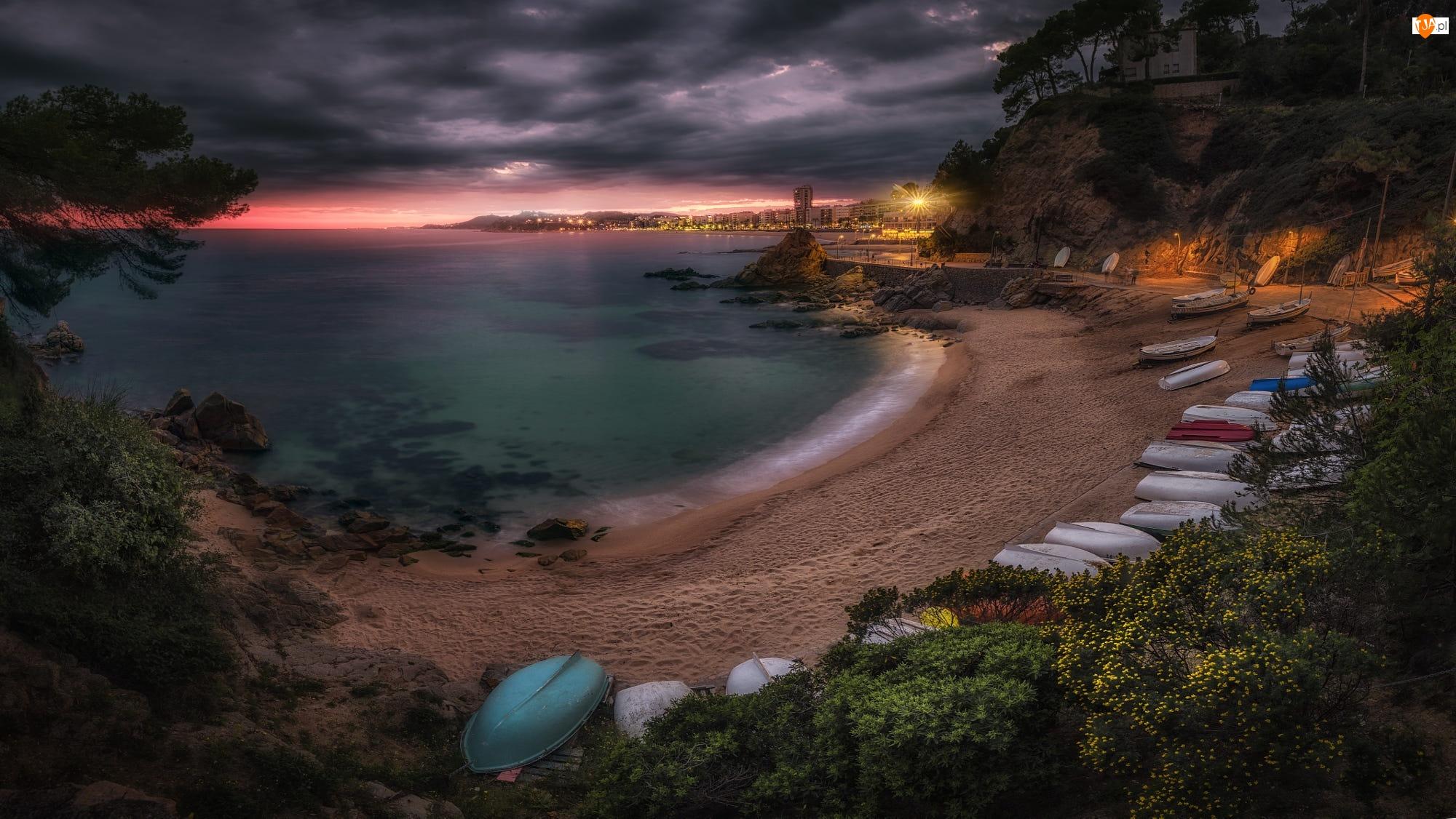 Plaża, Łódki, Hiszpania, Morze, Katalonia, Lloret de Mar, Domy