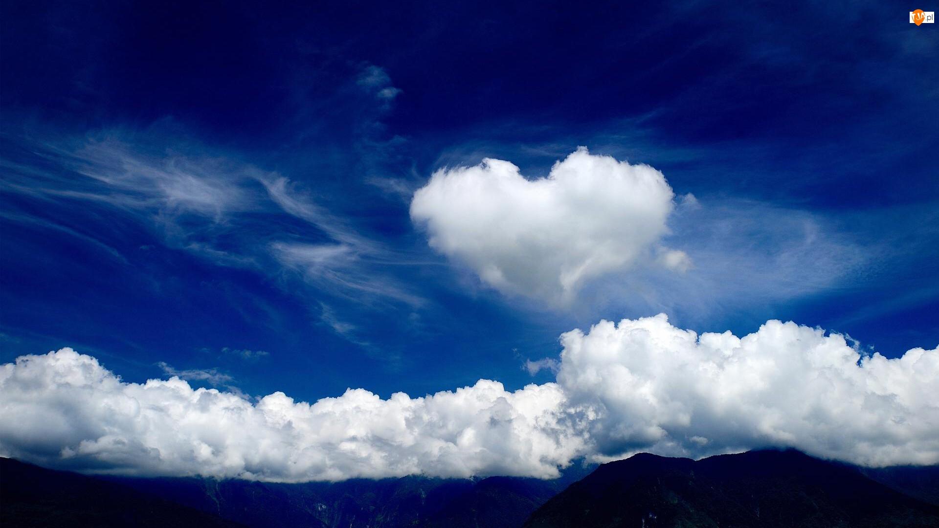Chmury, Miłość, Białe, Niebo, Serce