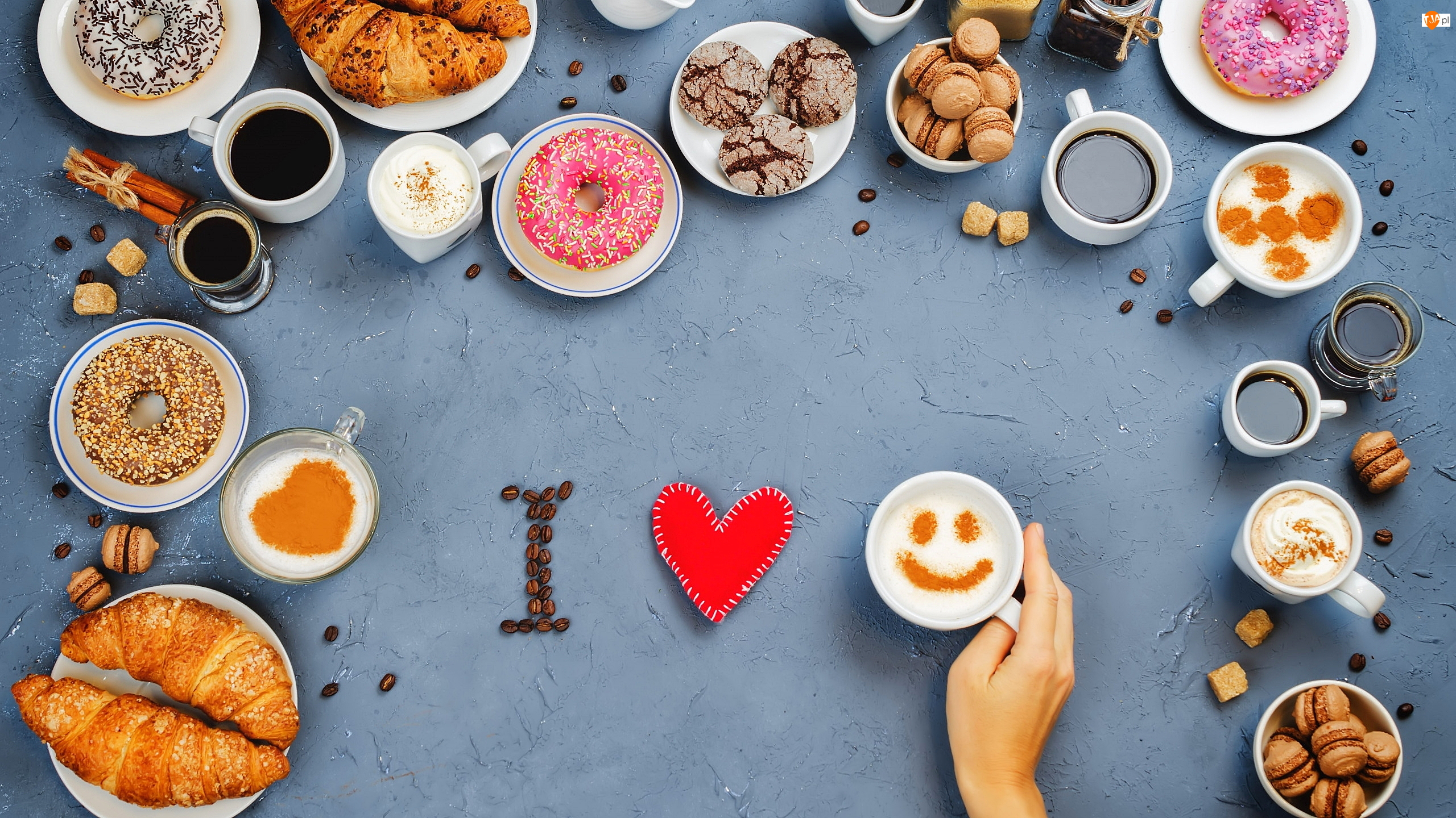 Rogaliki, Donuty, Kawa, Dłoń, Ciasteczka