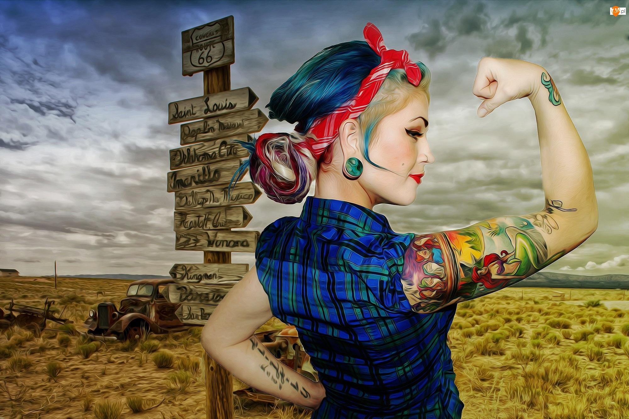 Grafika, Kobieta, Tatuaże, Drogowskazy